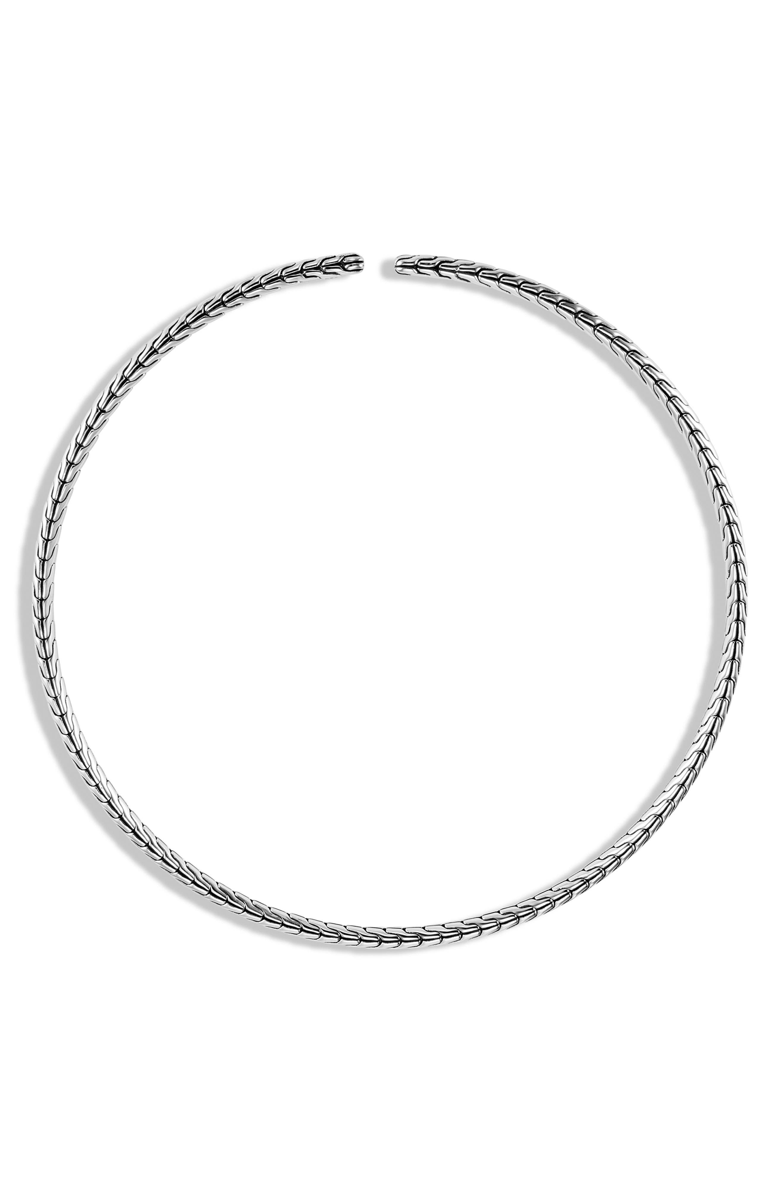 Classic Chain Silver Coil Choker Necklace