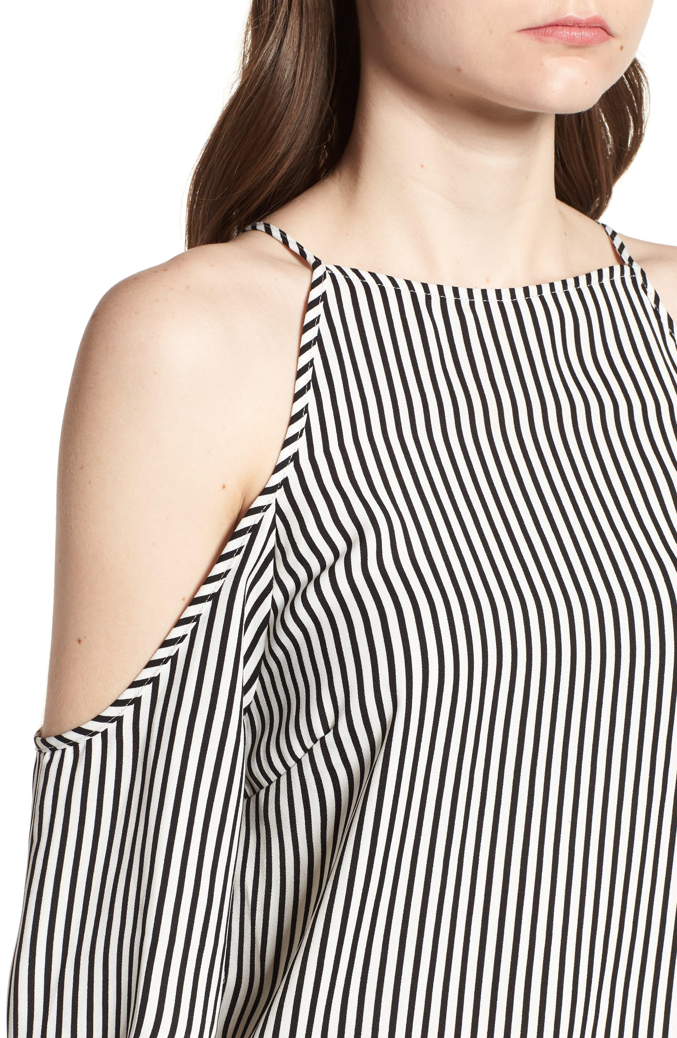 Bishop + Young Ava Stripe Cold Shoulder Top,                             Alternate thumbnail 4, color,                             BLACK STRIPE