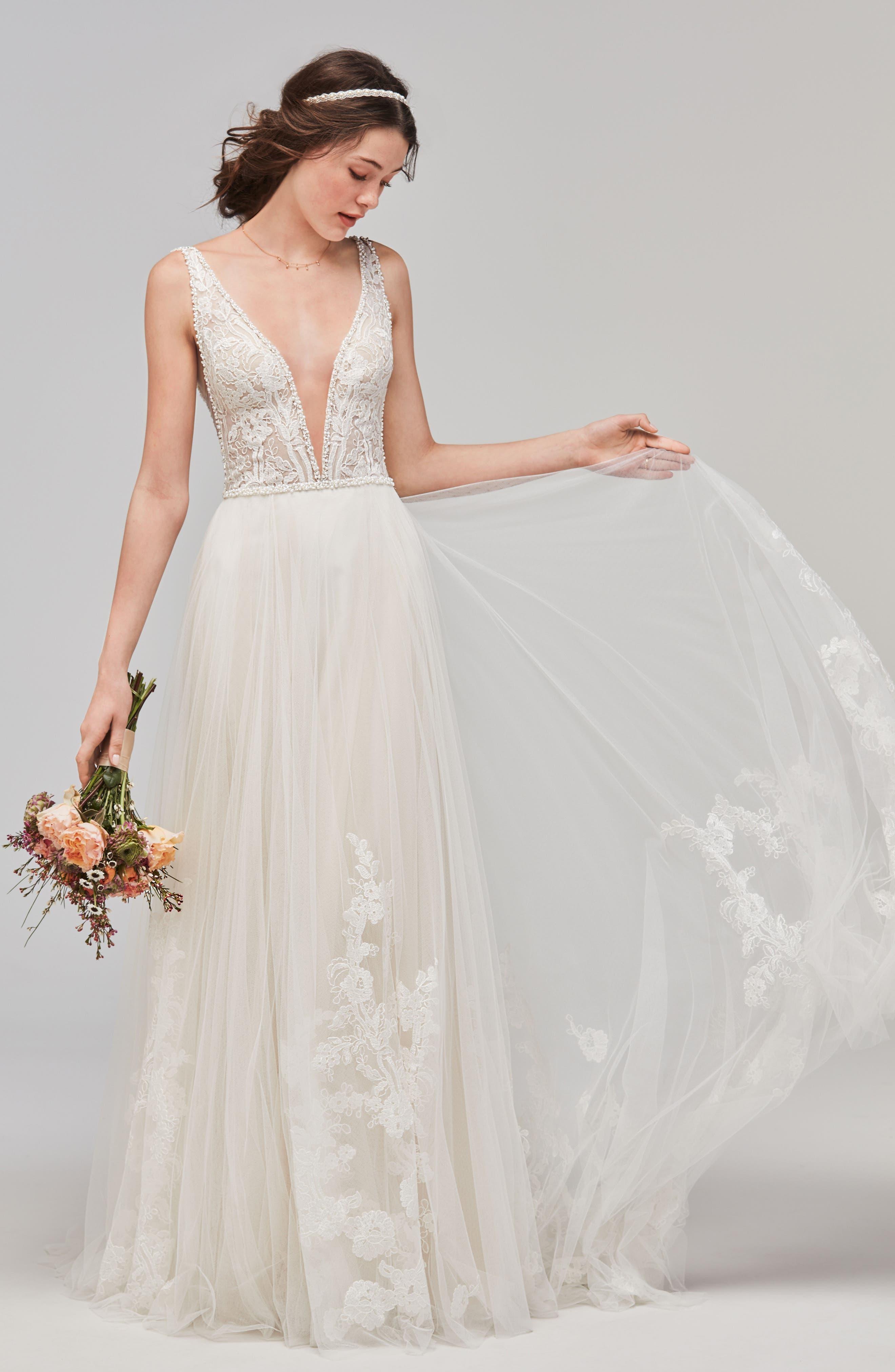 Philomena Deep V-Neck Tulle Gown,                             Main thumbnail 1, color,                             NECTAR