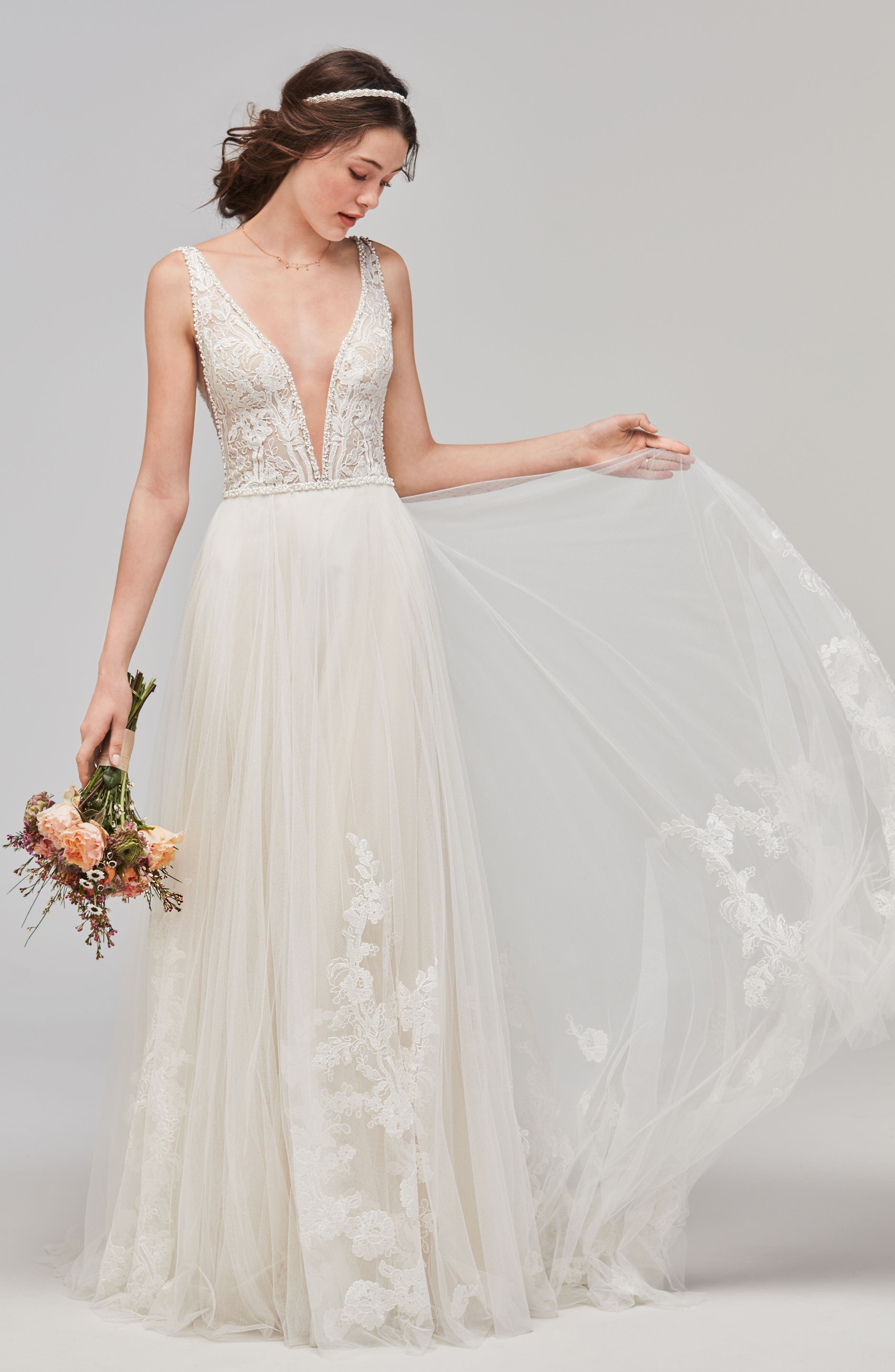 Philomena Deep V-Neck Tulle Gown,                         Main,                         color, NECTAR