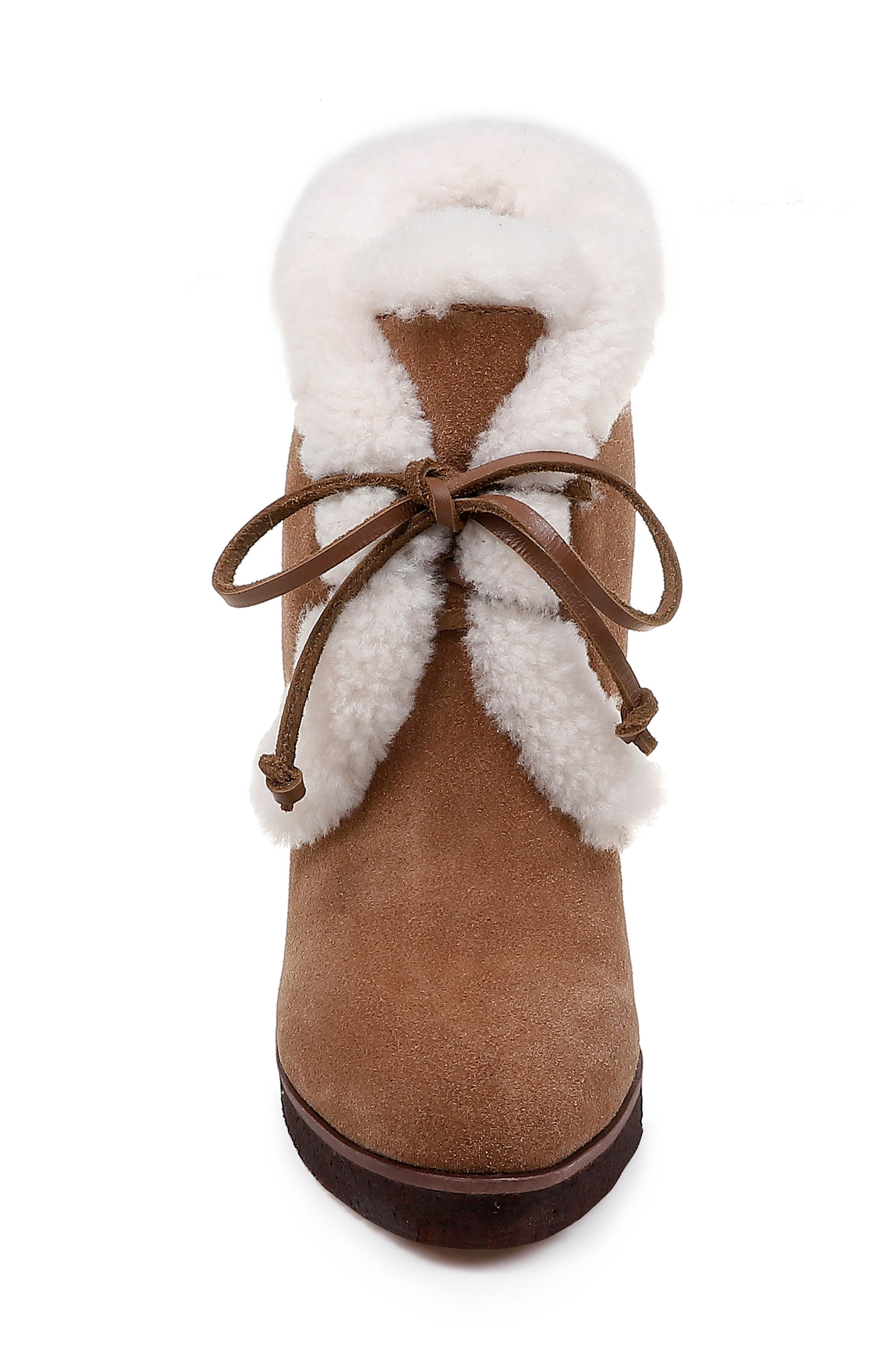 Catalina Faux-Shearling Wedge Bootie,                             Alternate thumbnail 4, color,                             LIGHT BROWN SUEDE