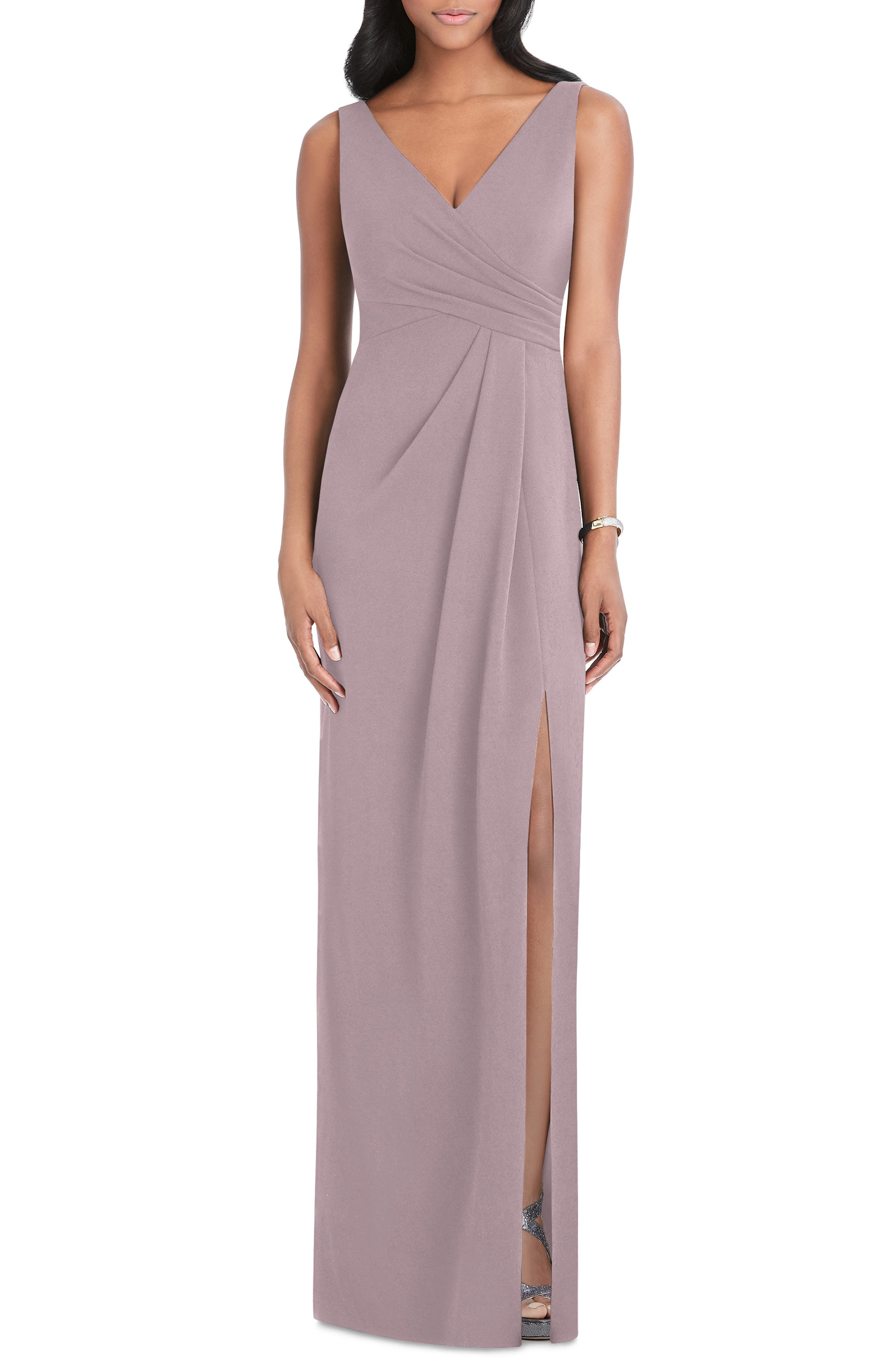 After Six Pleated Surplice Stretch Crepe Gown, Pink