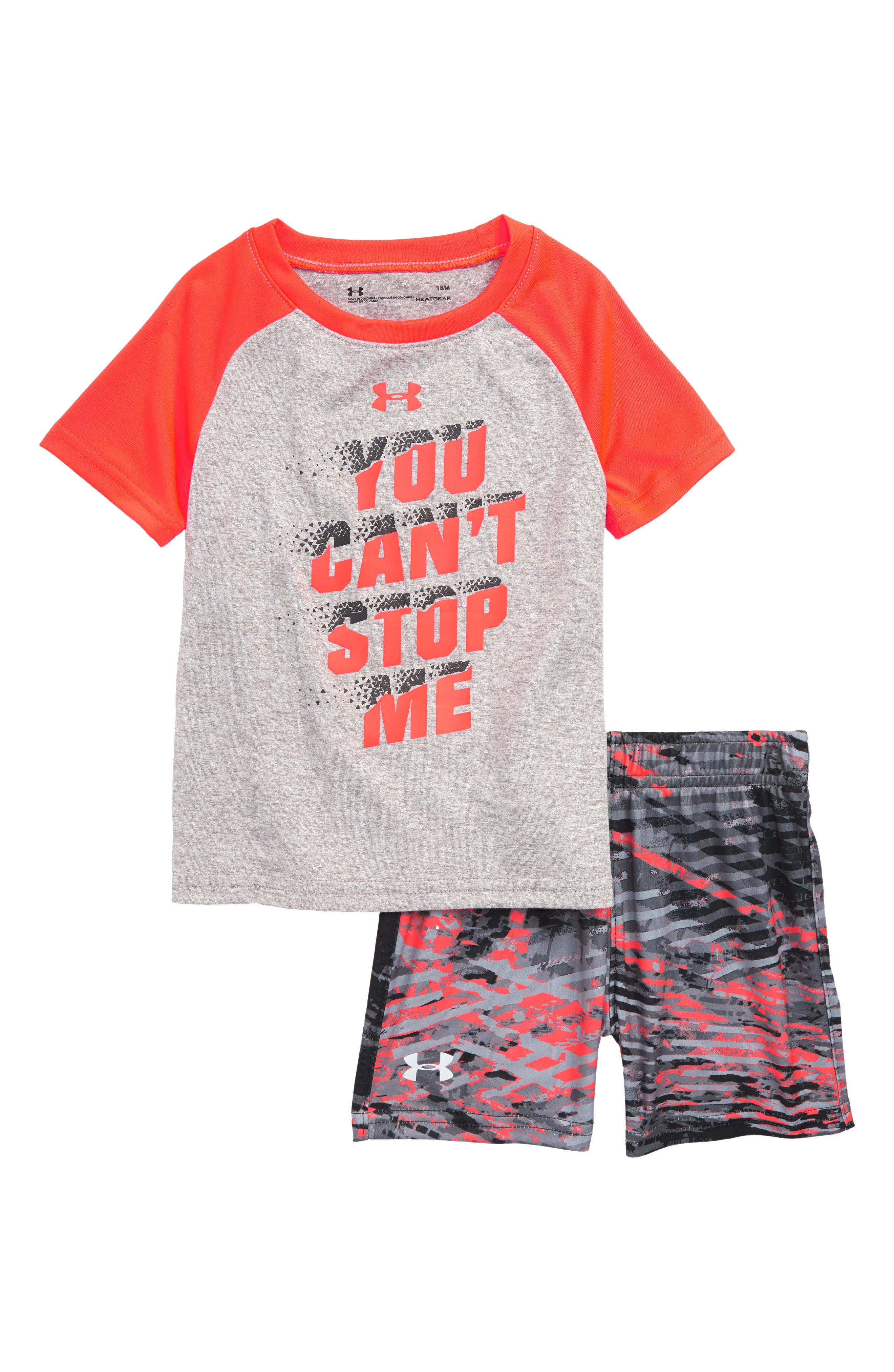 You Can't Stop Me HeatGear<sup>®</sup> Shirt & Shorts Set,                             Main thumbnail 1, color,                             TRUE GREY HEATHER