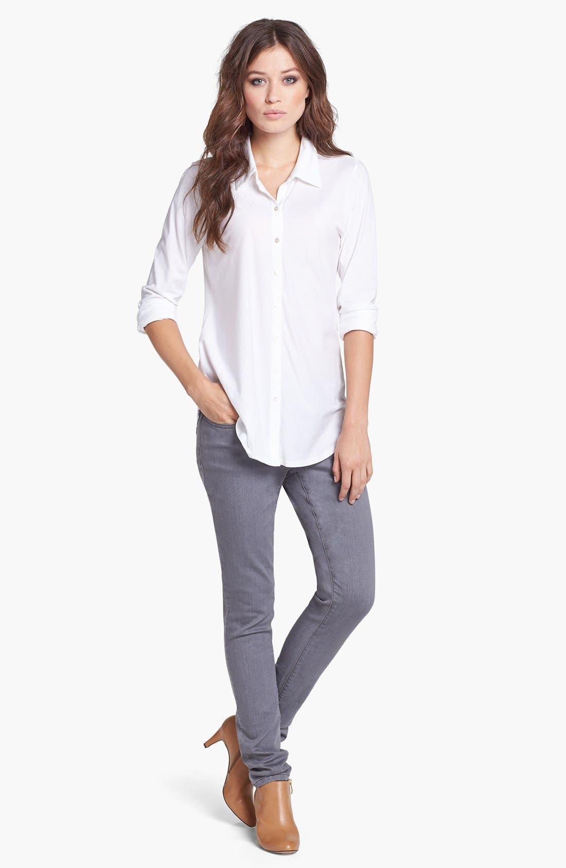 Classic Collar Organic Cotton Shirt,                             Alternate thumbnail 3, color,                             100