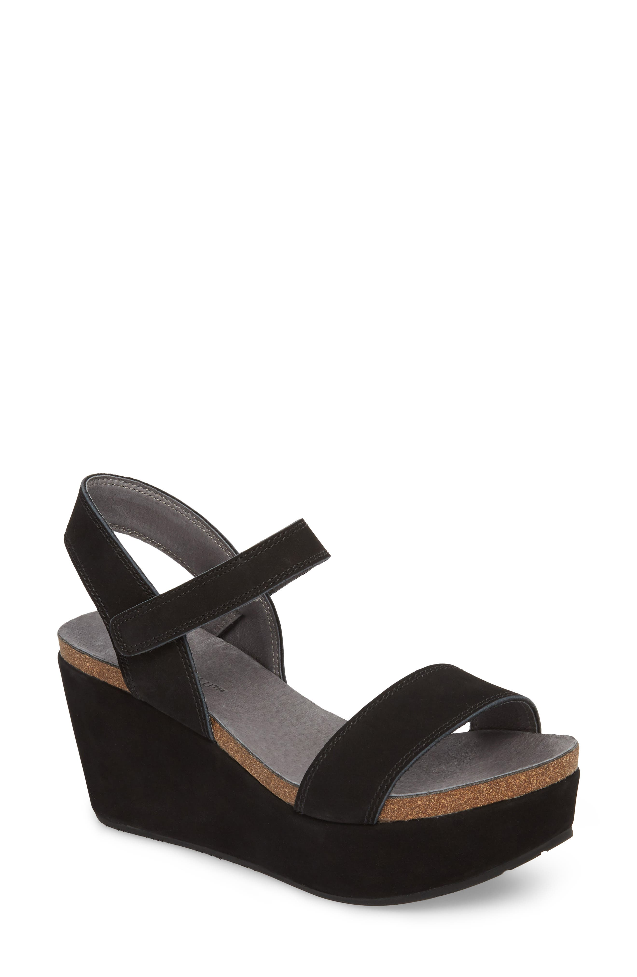 Watson Ankle Strap Wedge Sandal,                         Main,                         color, BLACK NUBUCK