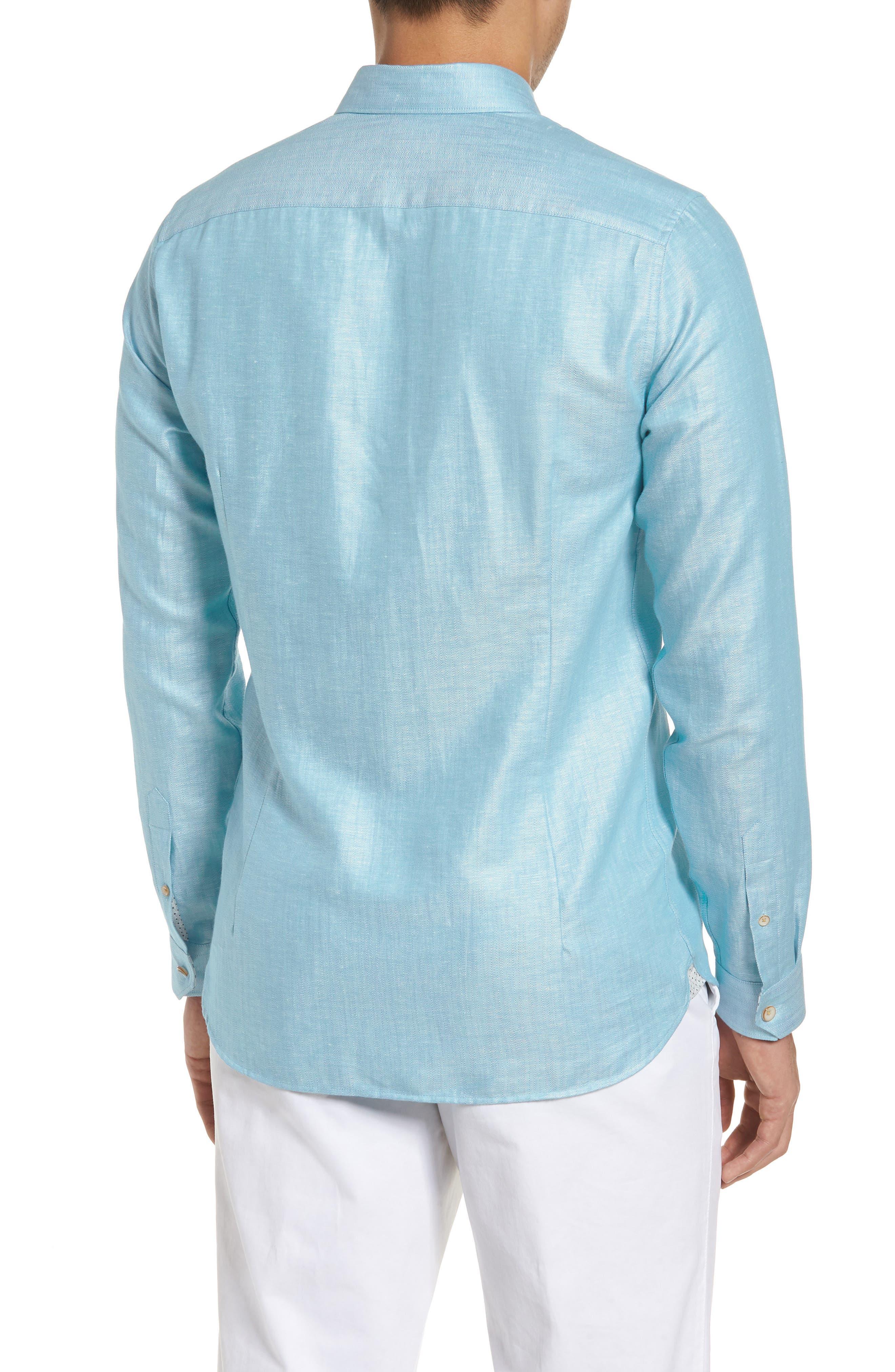 Linlins Herringbone Cotton & Linen Sport Shirt,                             Alternate thumbnail 9, color,