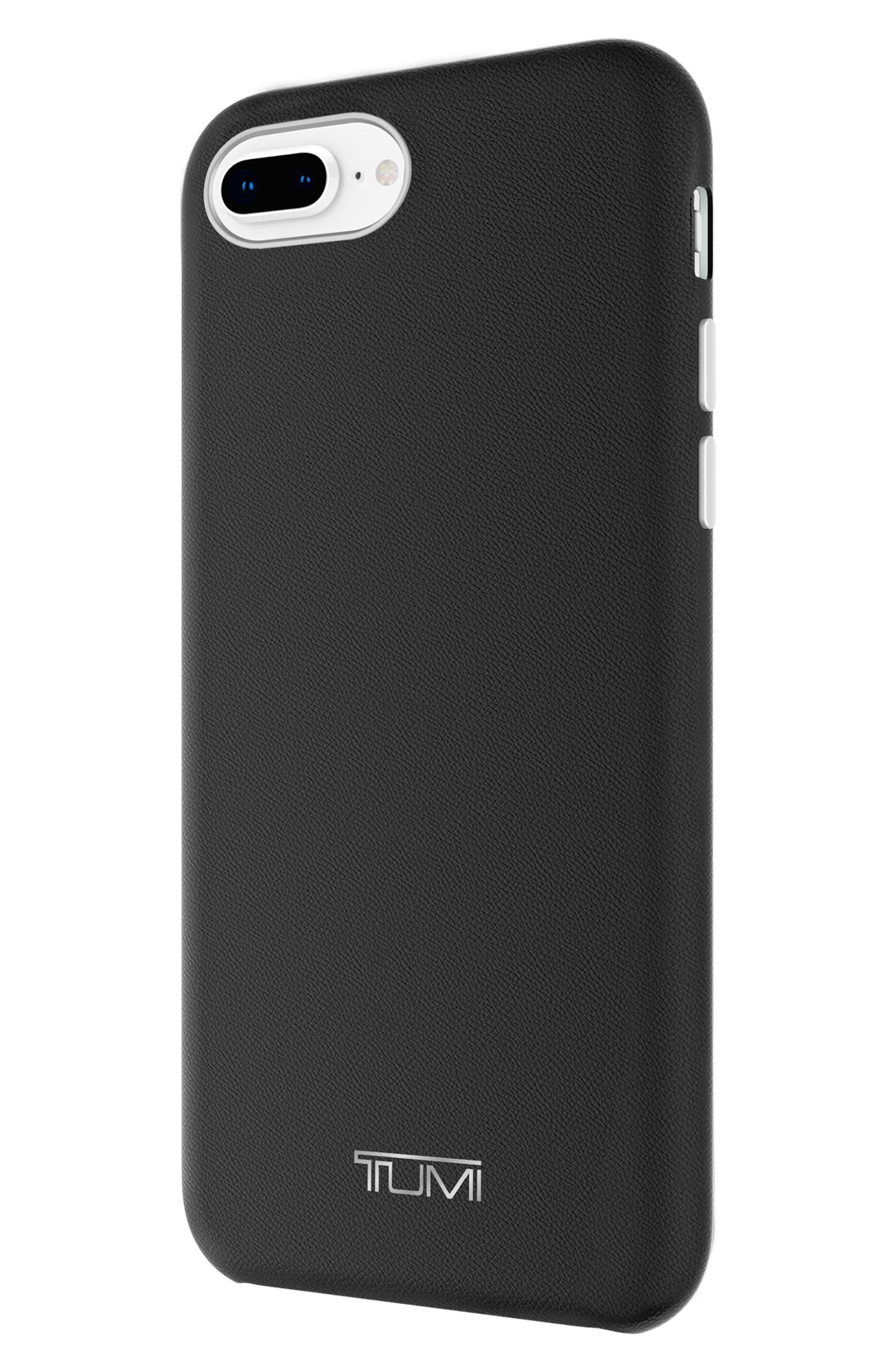 Leather Wrap iPhone 8 Plus Case,                             Alternate thumbnail 5, color,                             BLACK