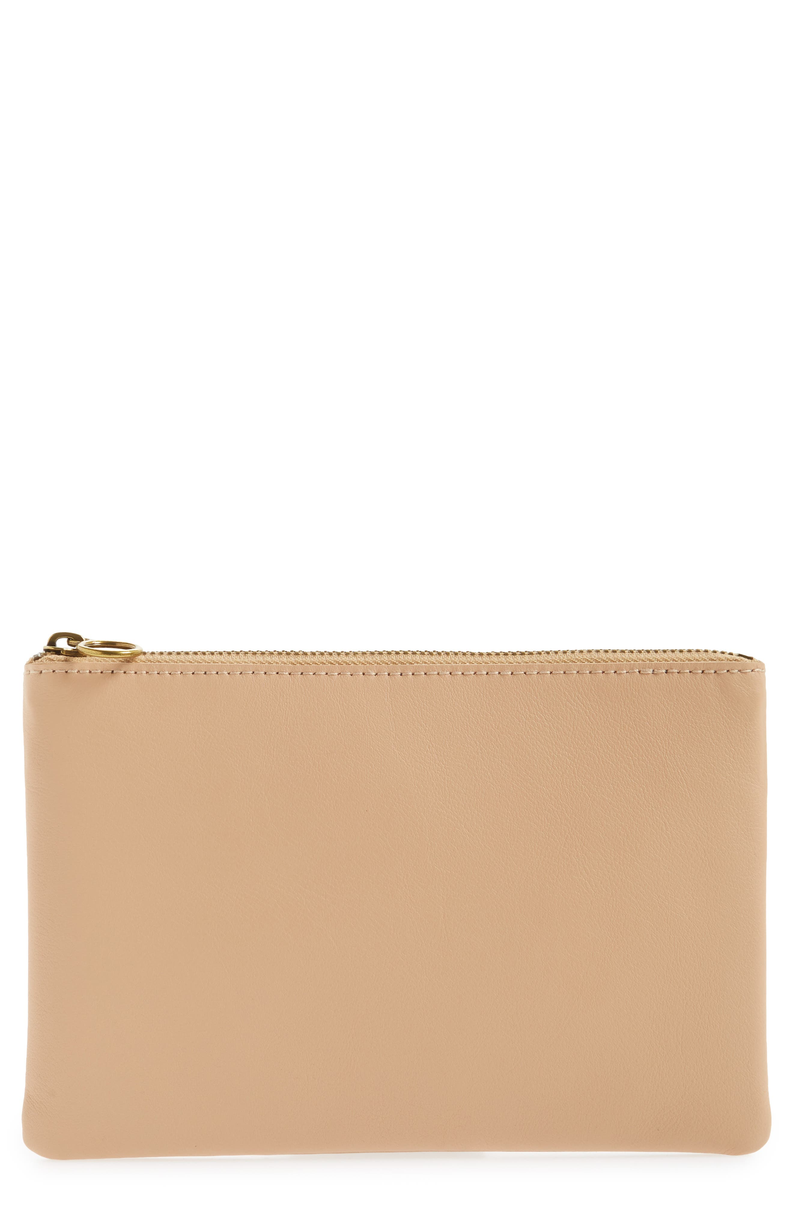 The Leather Pouch Clutch,                             Main thumbnail 1, color,                             LINEN