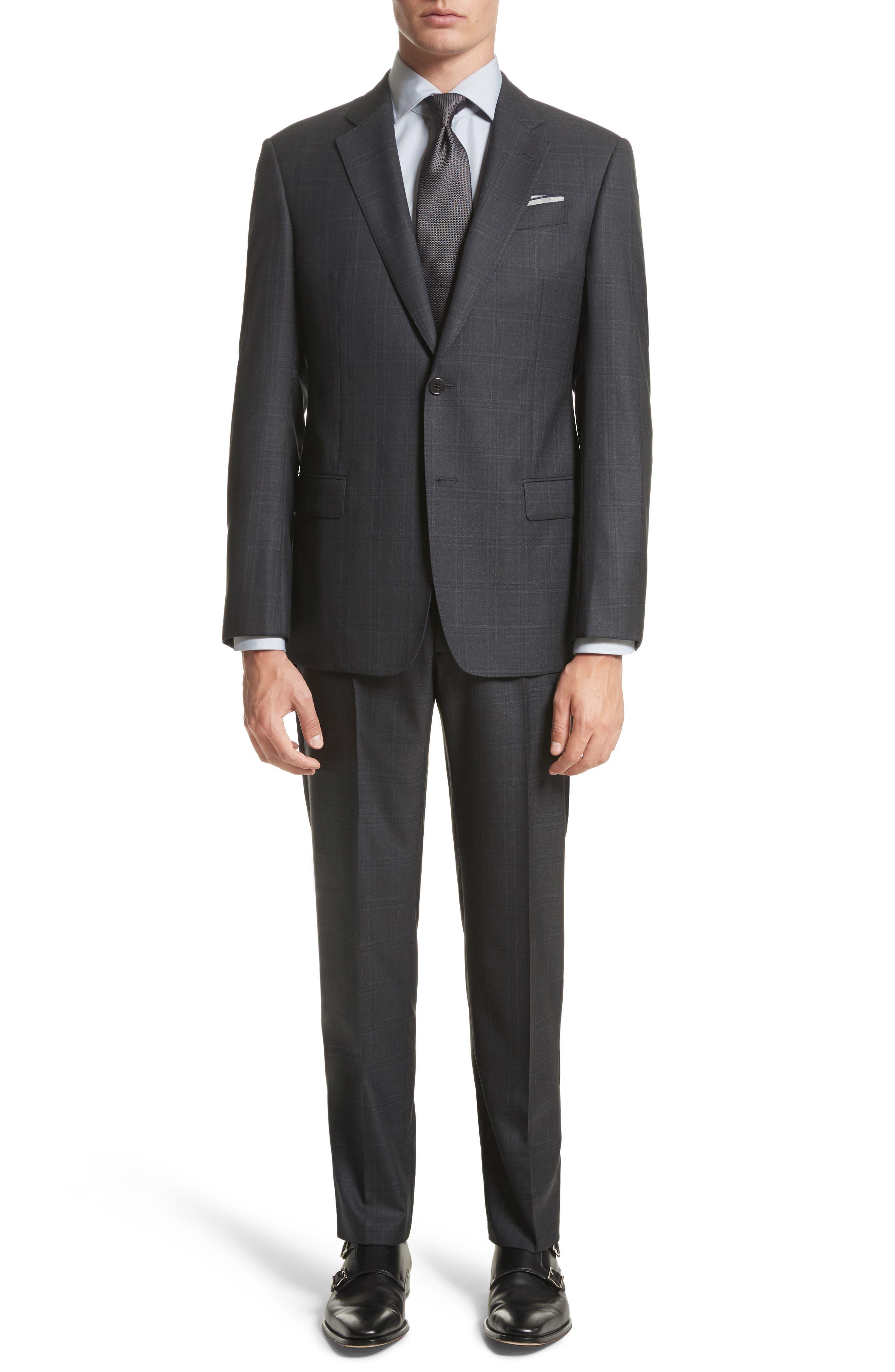 G-Line Trim Fit Plaid Wool Suit,                         Main,                         color, 017