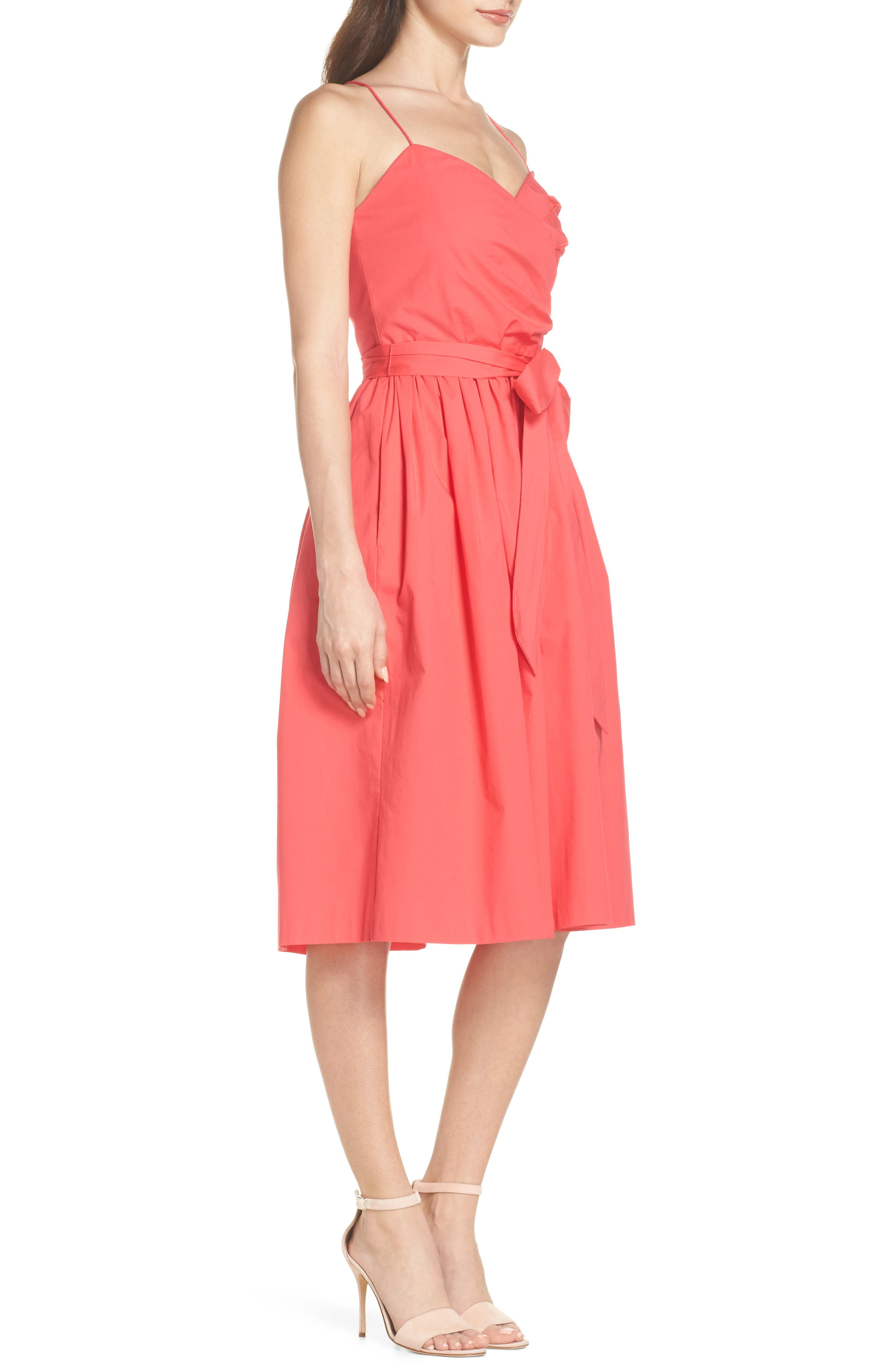Strappy Fit & Flare Midi Dress,                             Alternate thumbnail 6, color,