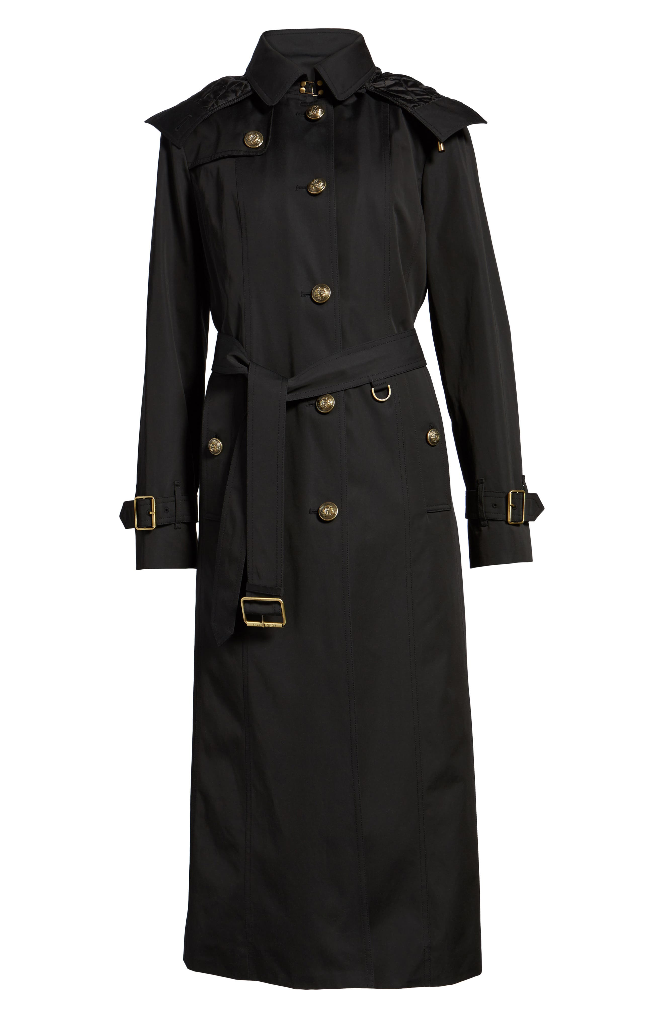 Hooded Single Breasted Long Trench Coat,                             Alternate thumbnail 5, color,                             001