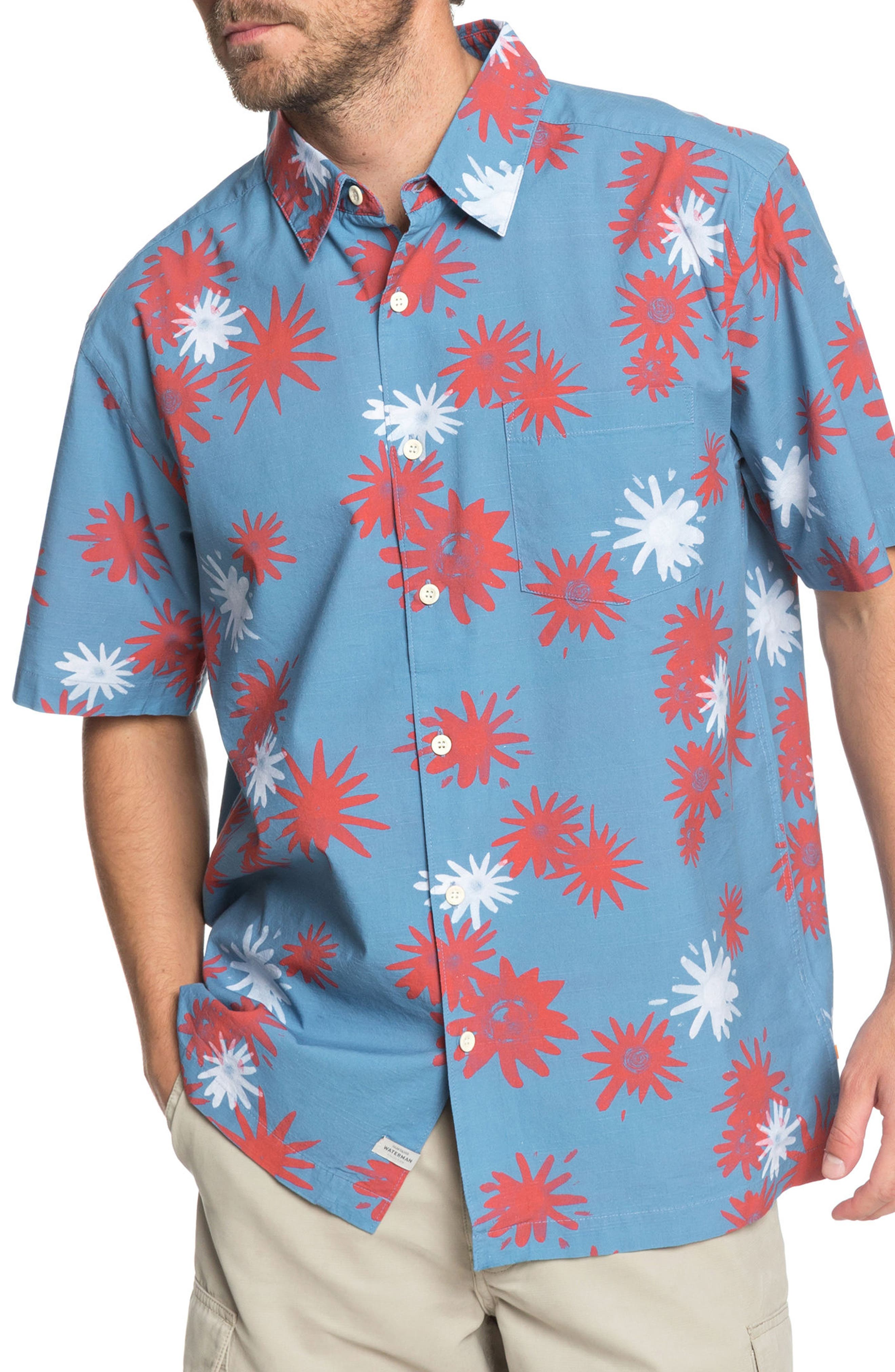 Floral Fireworks Classic Fit Sport Shirt,                         Main,                         color, PARISIAN BLUE