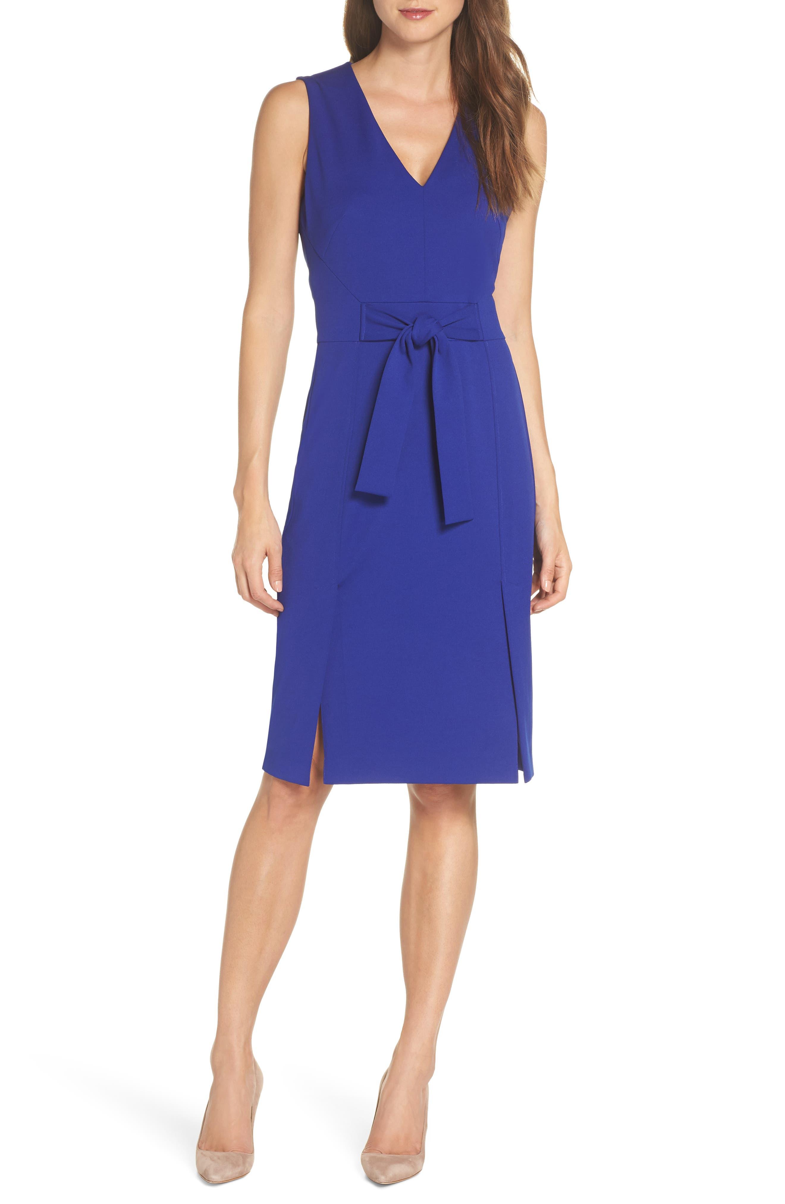 VINCE CAMUTO Scuba Crepe Sheath Dress, Main, color, COBALT