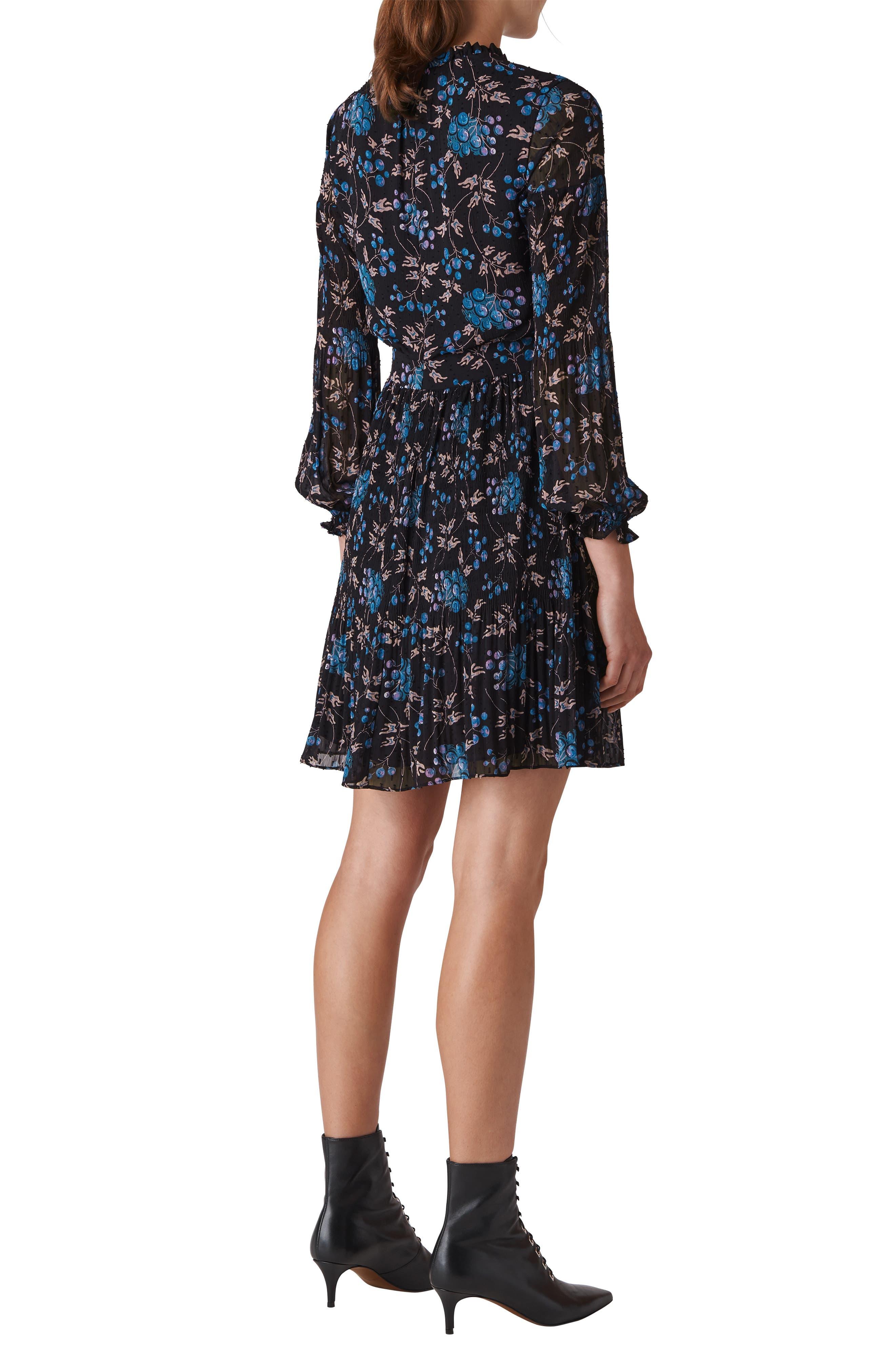 Elderberry Print Dobby Dress,                             Alternate thumbnail 2, color,                             BLUE/ MULTI