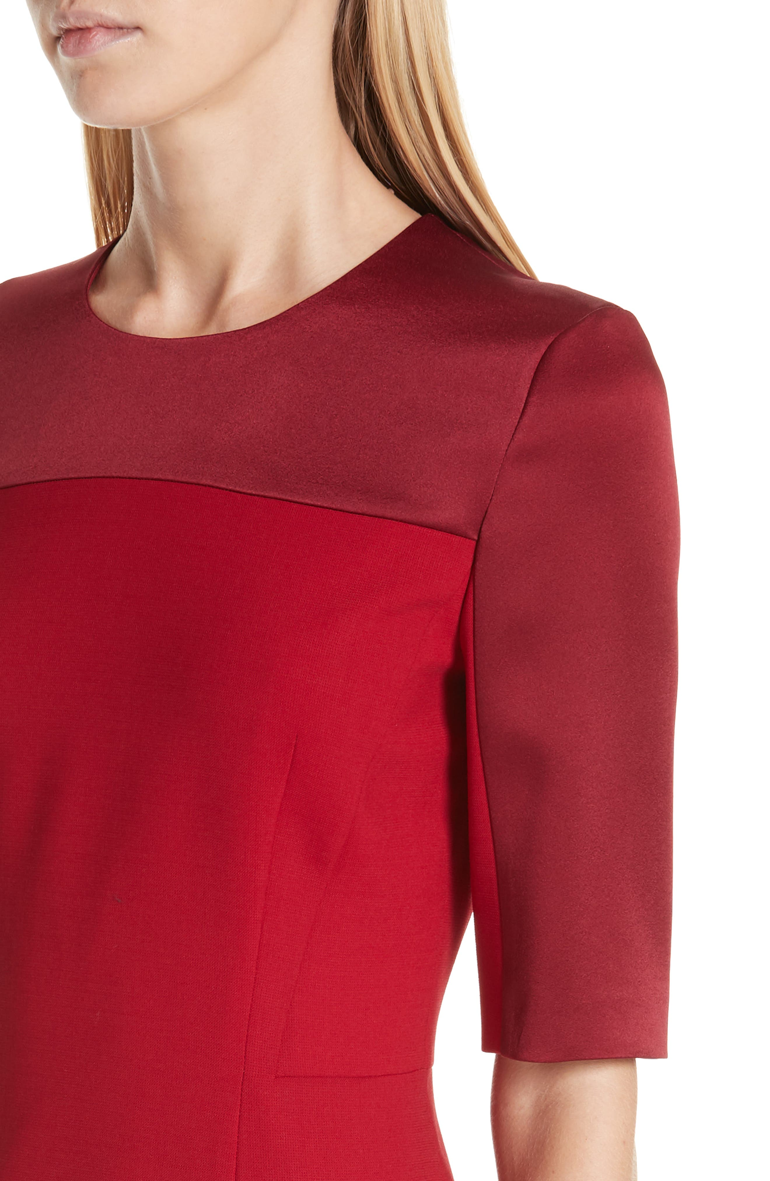 Danufa Stretch Wool Sheath Dress,                             Alternate thumbnail 4, color,                             DARK RED