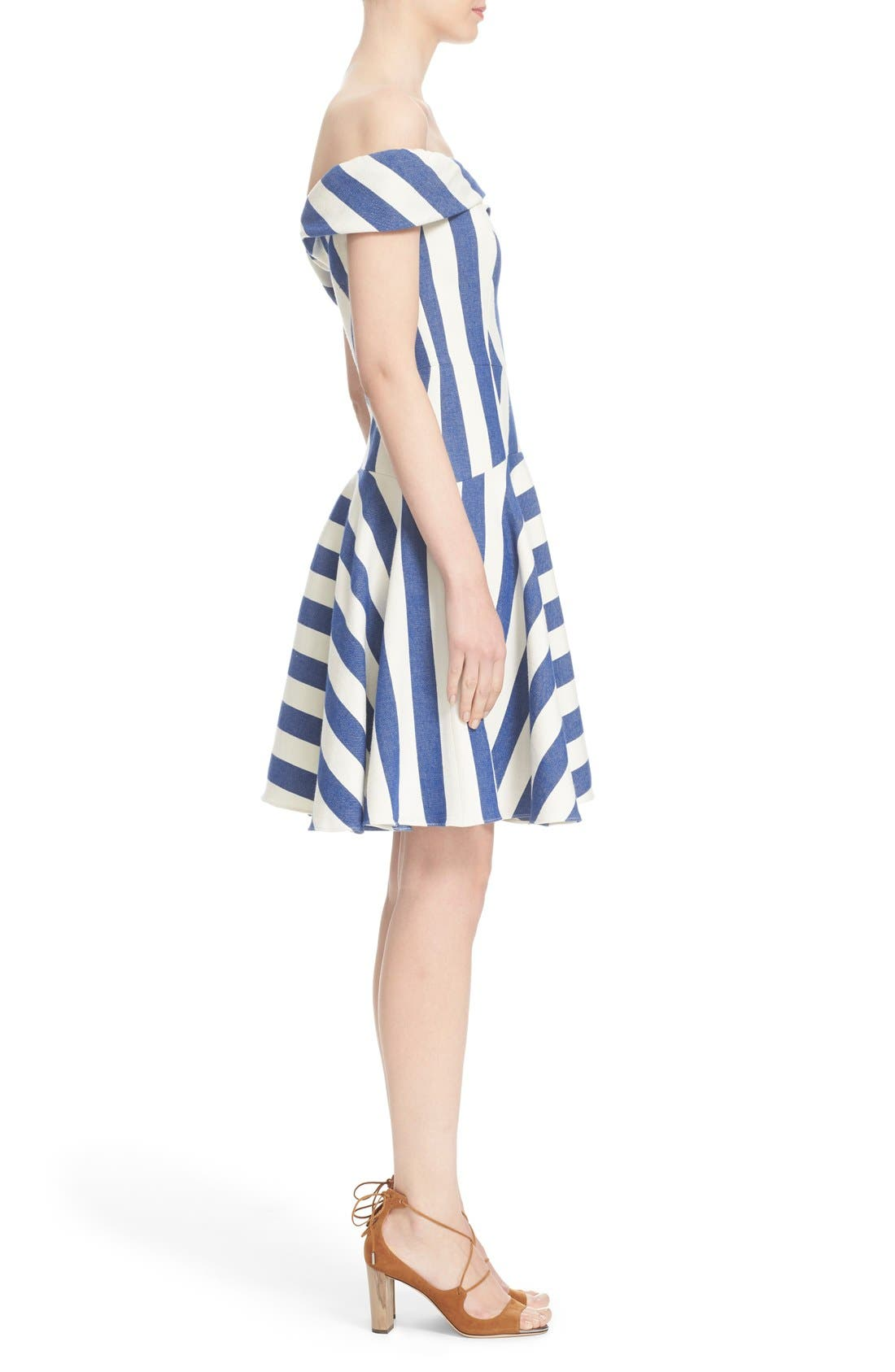 'Mariella' Stripe Off the Shoulder Fit & Flare Dress,                             Alternate thumbnail 2, color,                             420