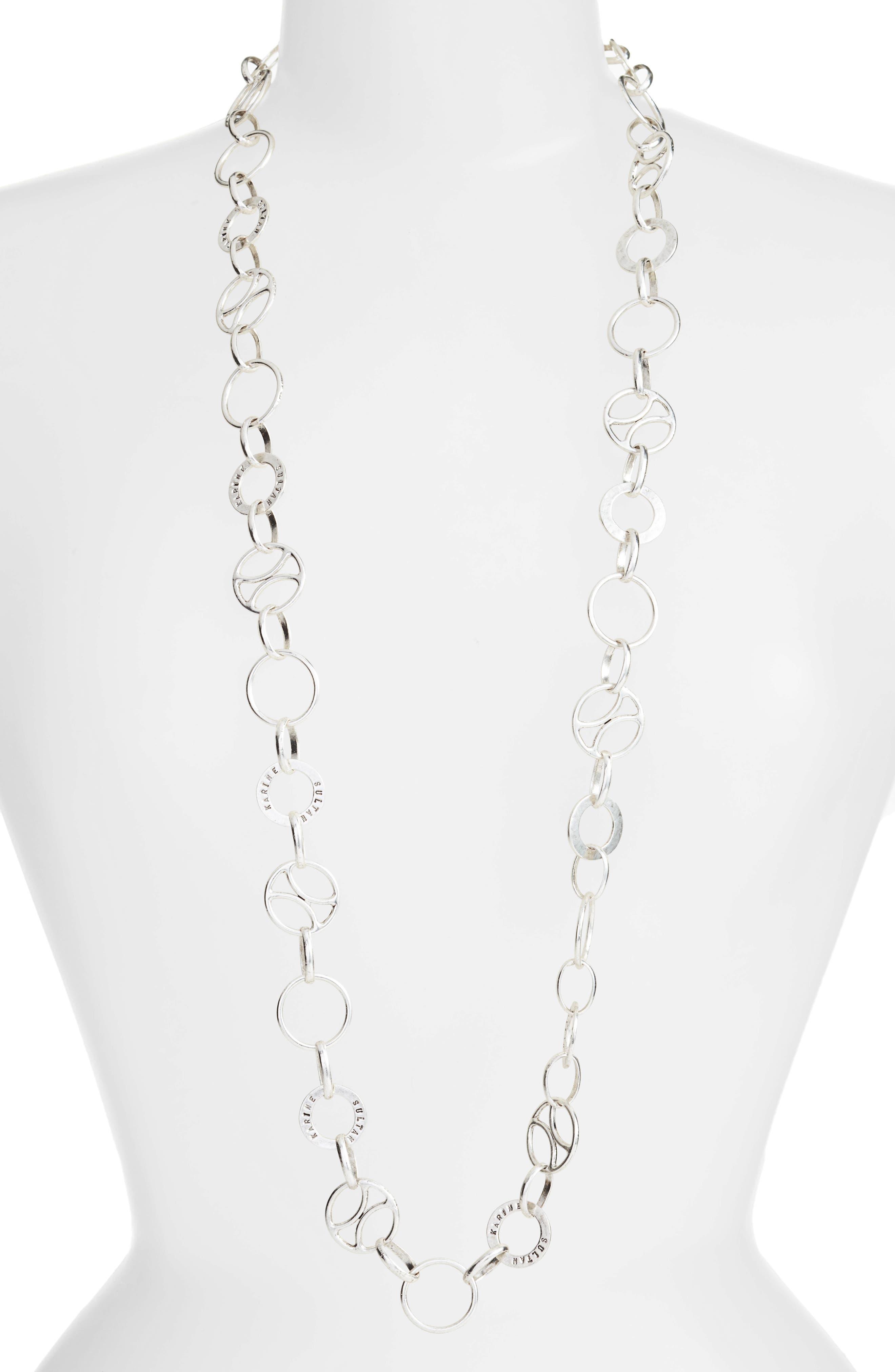 Long Link Necklace,                             Main thumbnail 1, color,                             SILVER