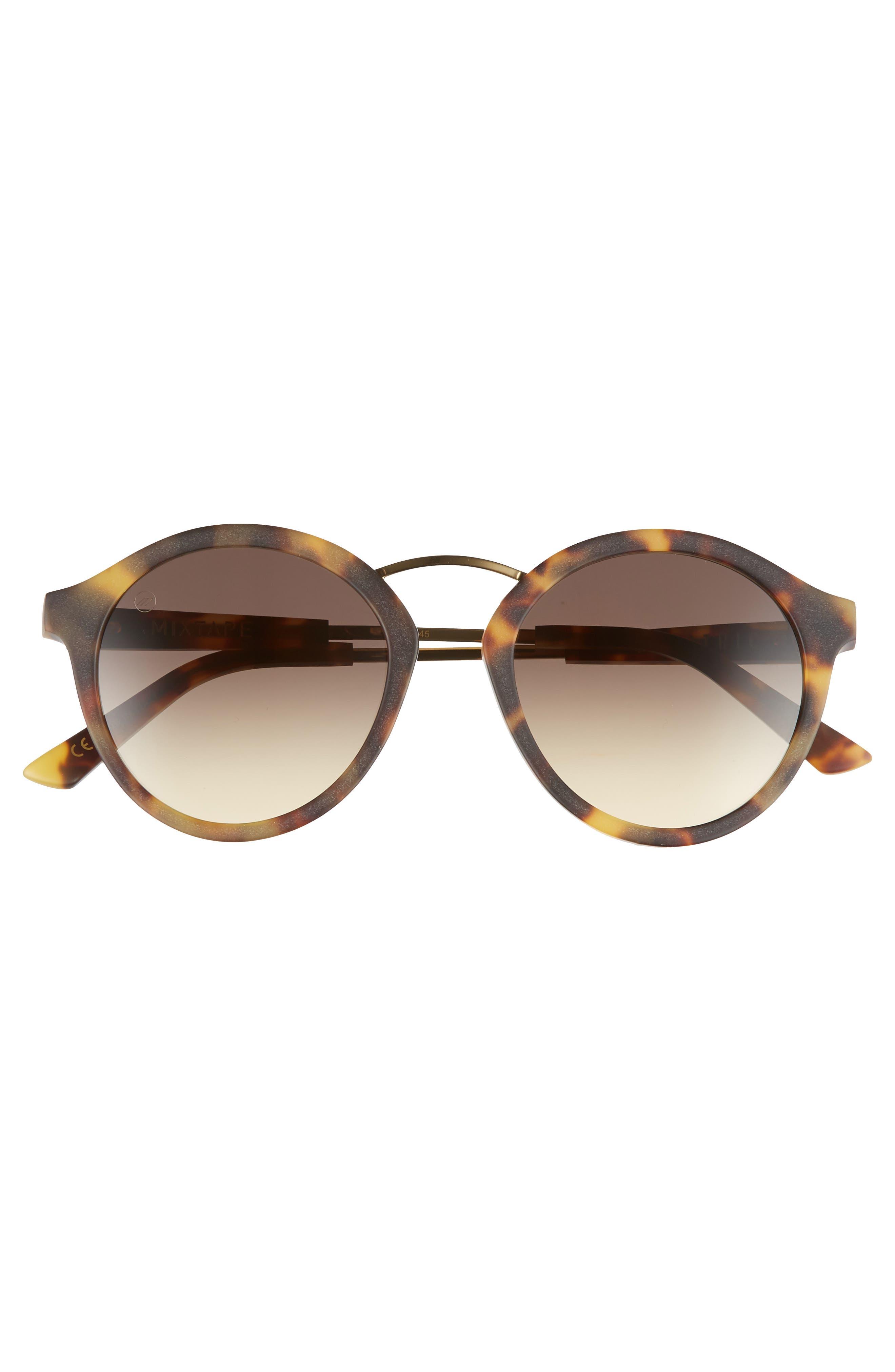 Mix Tape 52mm Mirrored Round Sunglasses,                             Alternate thumbnail 3, color,                             MATTE TORTOISE/ BLACK GRADIENT