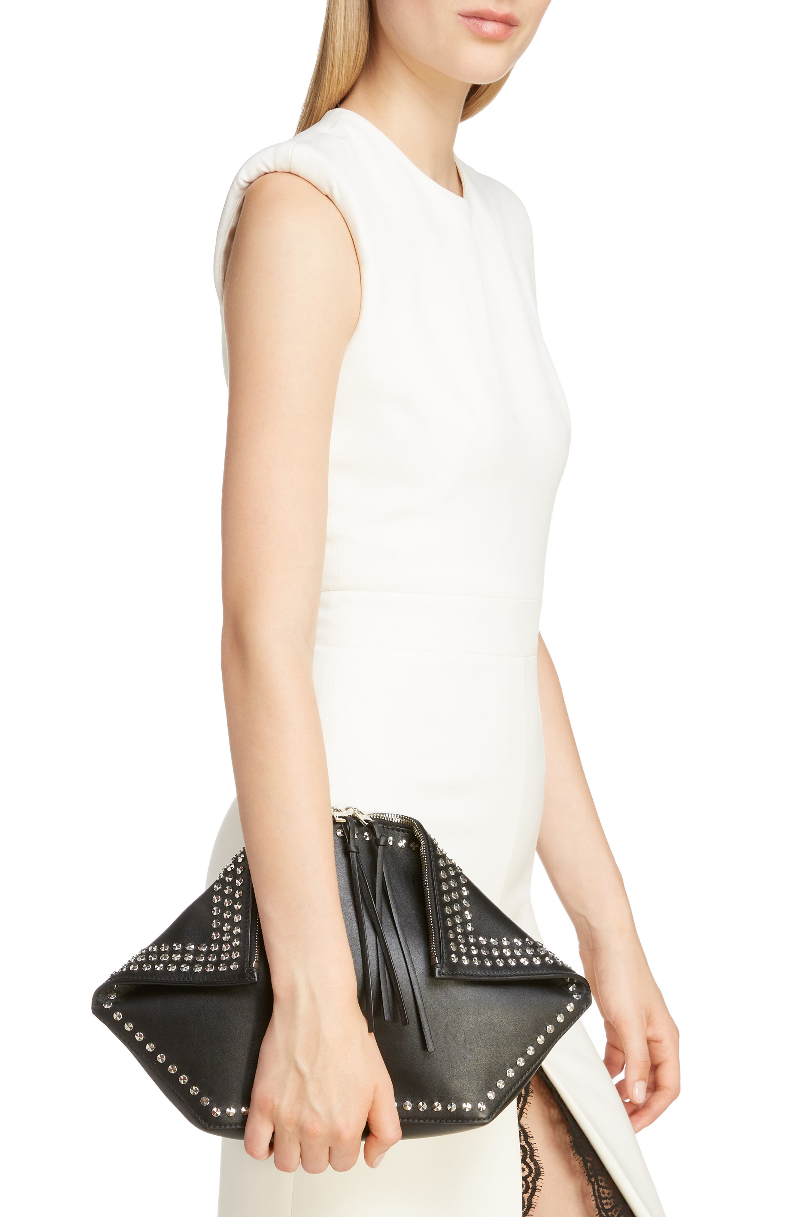 Studded Leather Butterfly Pouch,                             Alternate thumbnail 2, color,                             BLACK