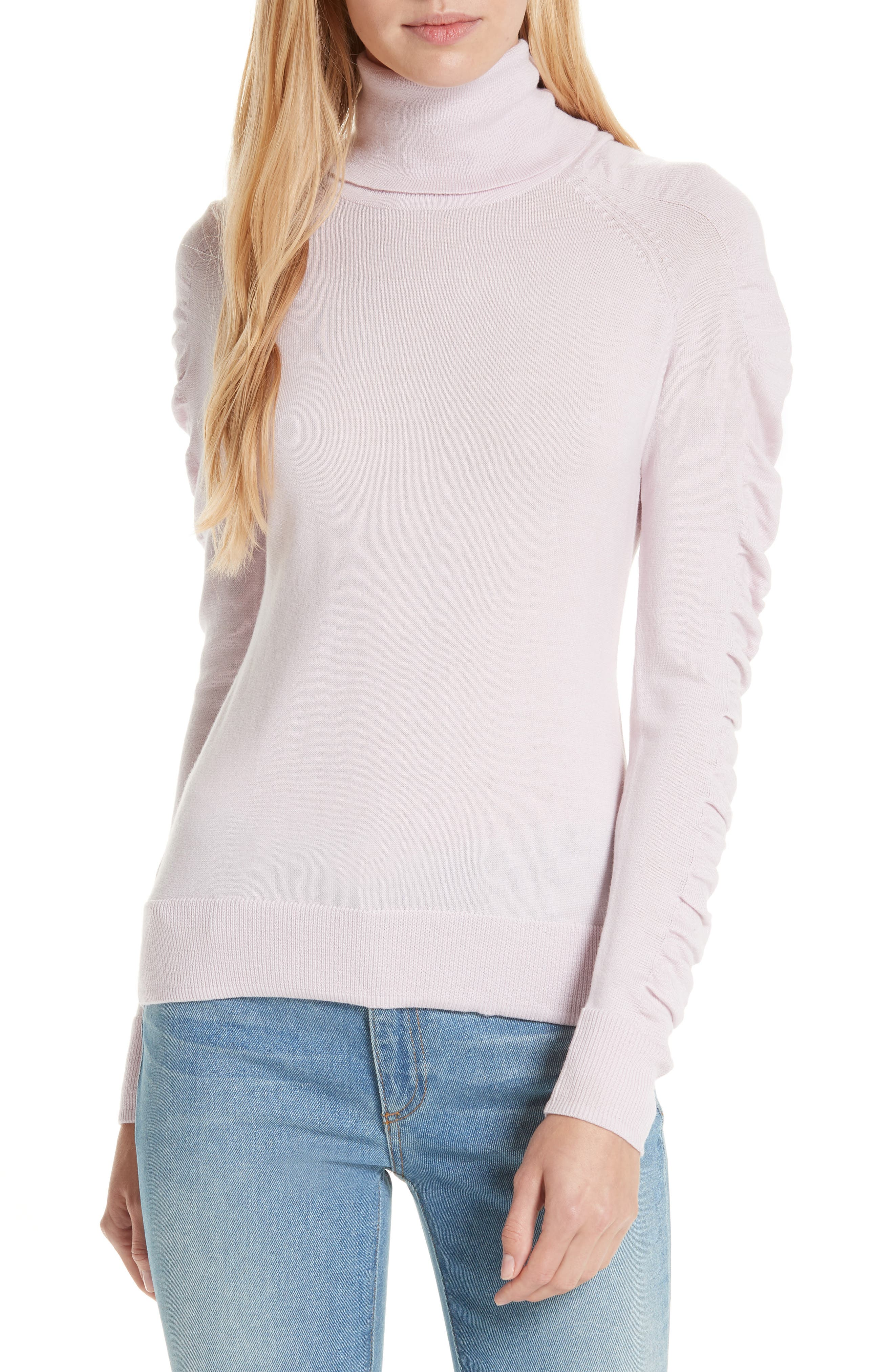 Milly Shirred Sleeve Wool Turtleneck Sweater, Pink
