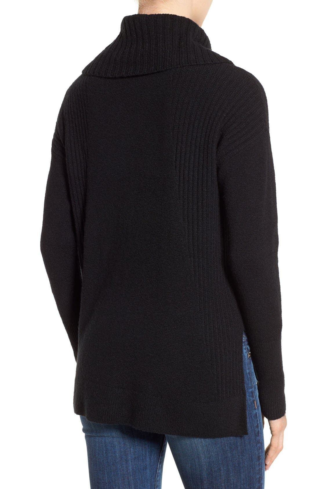 Cozy Rib Detail Relaxed Turtleneck,                             Alternate thumbnail 4, color,                             BLACK