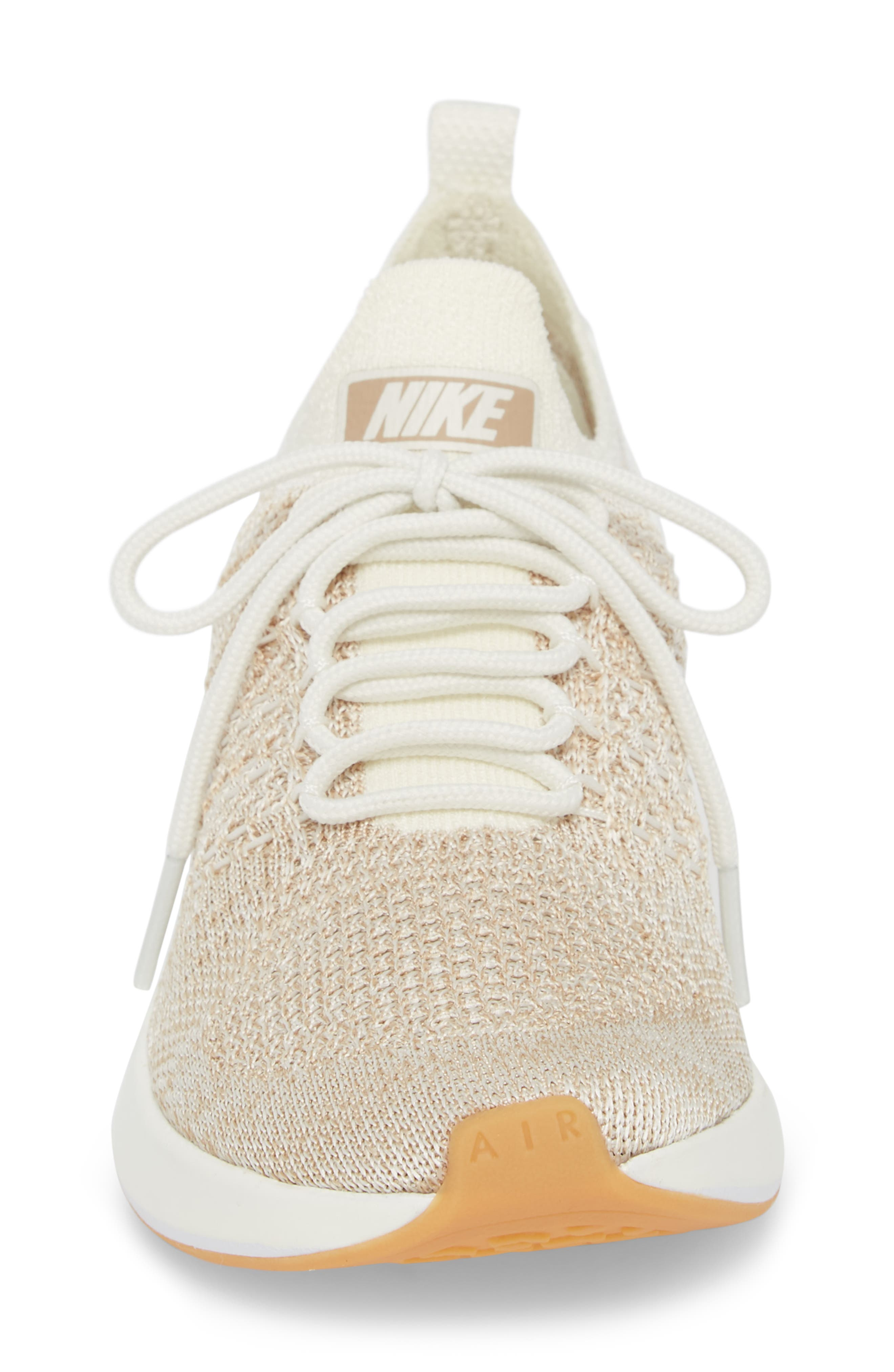 Air Zoom Mariah Flyknit Racer Sneaker,                             Alternate thumbnail 4, color,                             SAIL/ WHITE/ SAND