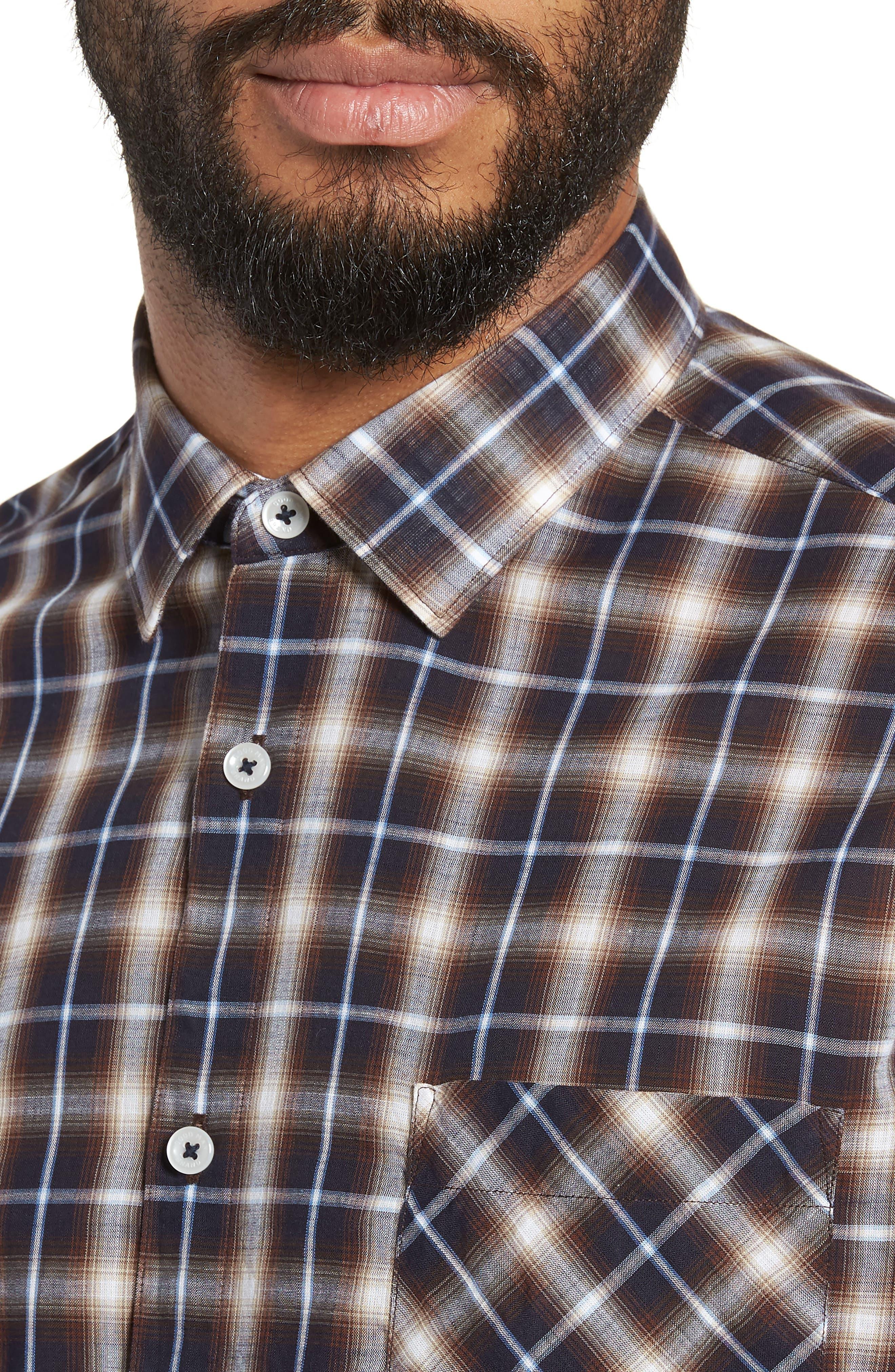 Alderplaid Slim Fit Sport Shirt,                             Alternate thumbnail 4, color,                             TOBACCO