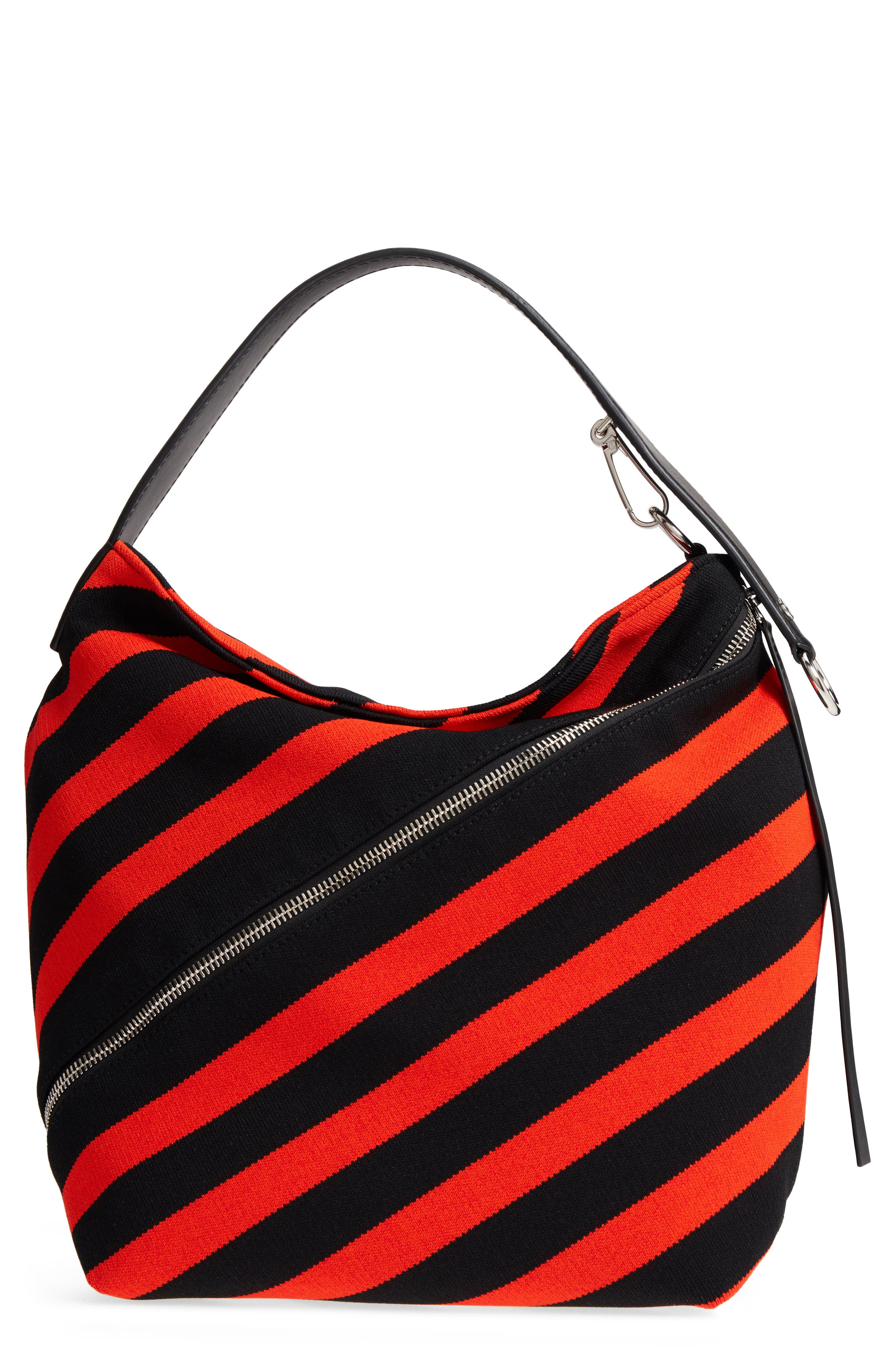 Medium Asymmetric Zip Stripe Textile Hobo,                             Main thumbnail 1, color,                             BLACK/ HOT CORAL
