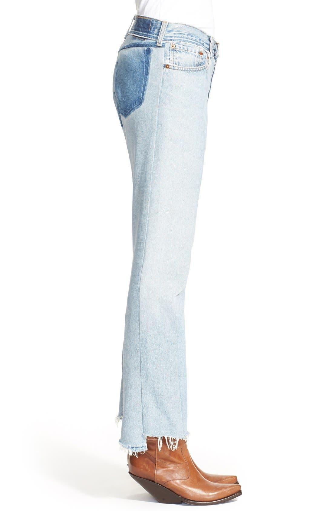 Deconstructed Crop Jeans,                             Alternate thumbnail 2, color,                             400
