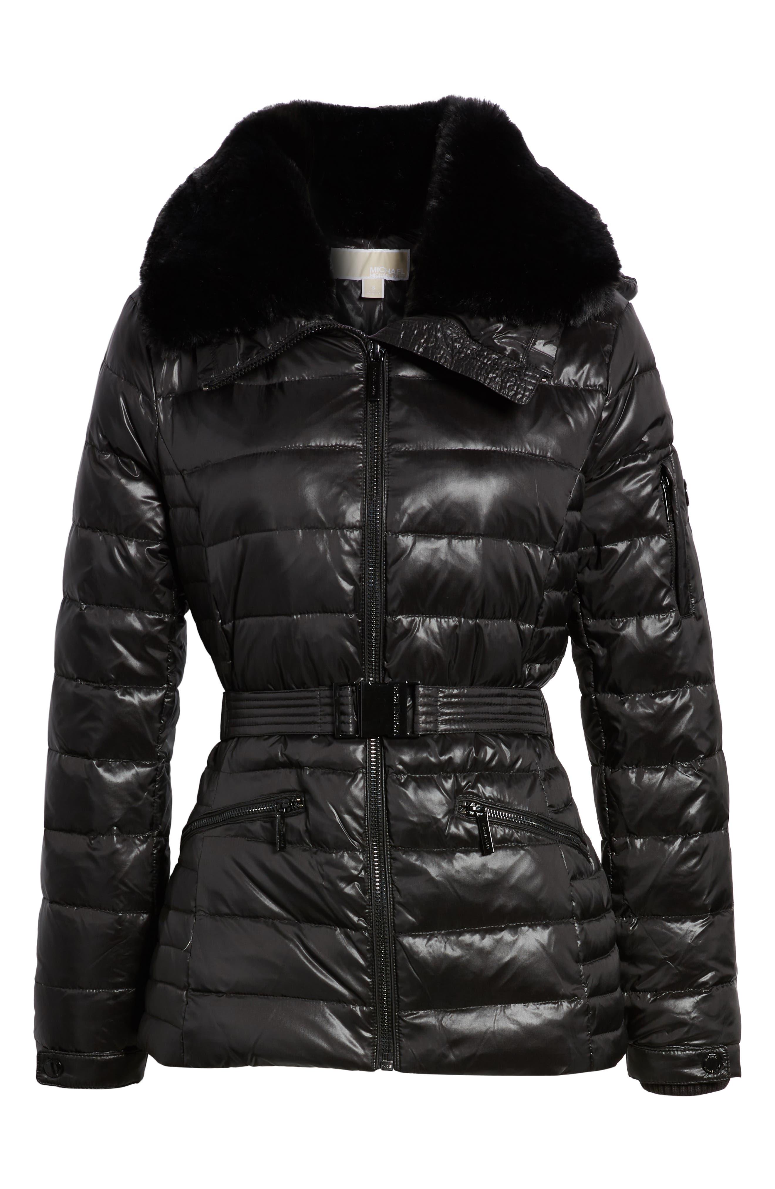 Faux Fur Puffer Jacket,                             Alternate thumbnail 6, color,                             001