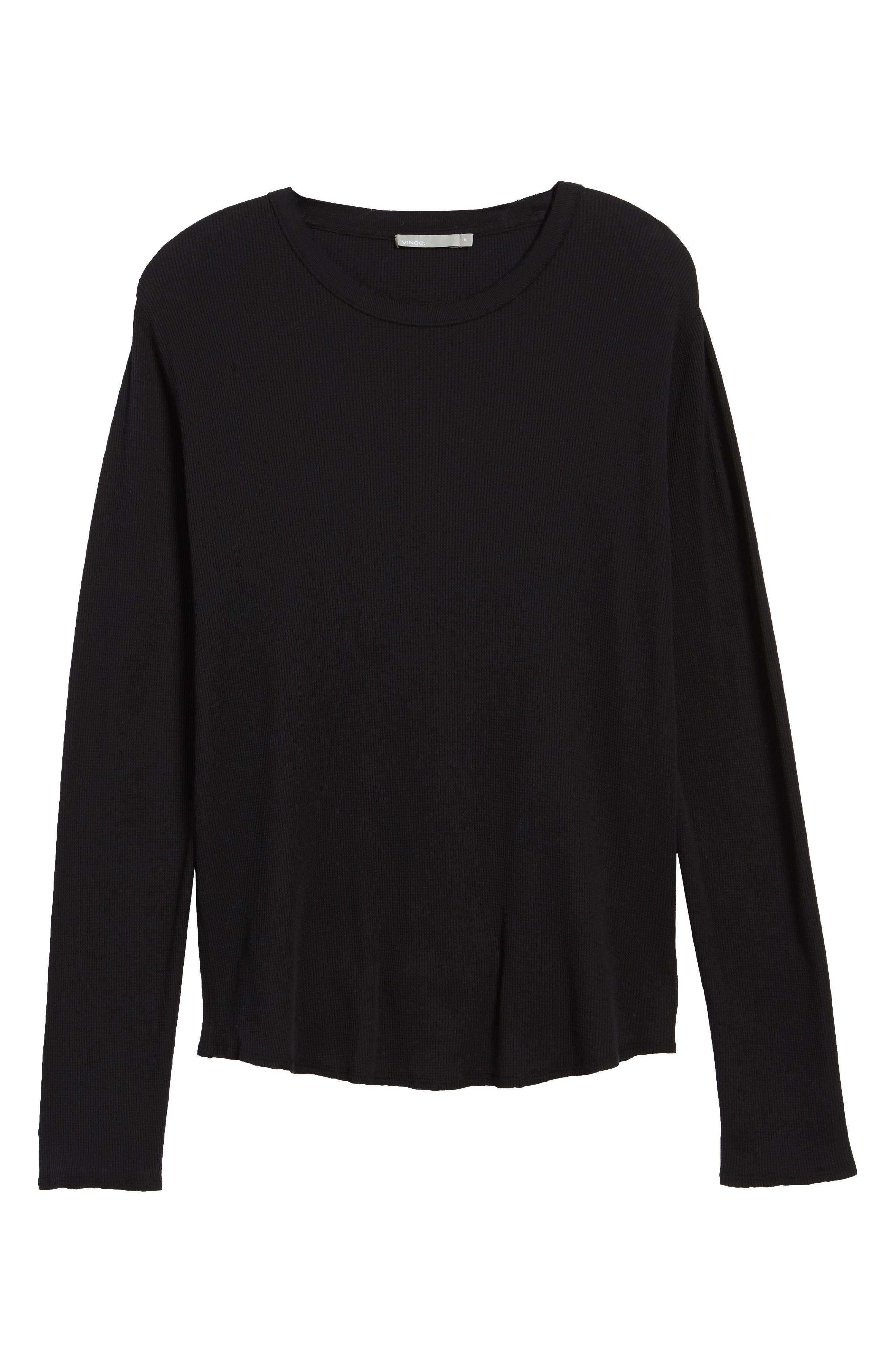 Thermal Knit Long Sleeve T-Shirt,                             Alternate thumbnail 6, color,                             001