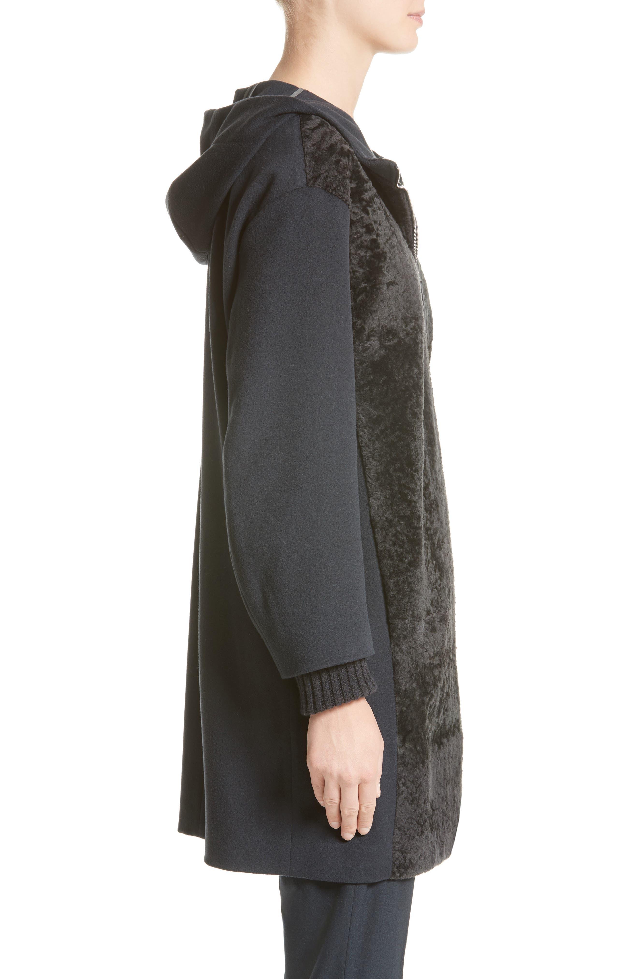 Genuine Shearling Zip Long Hoodie,                             Alternate thumbnail 3, color,                             400