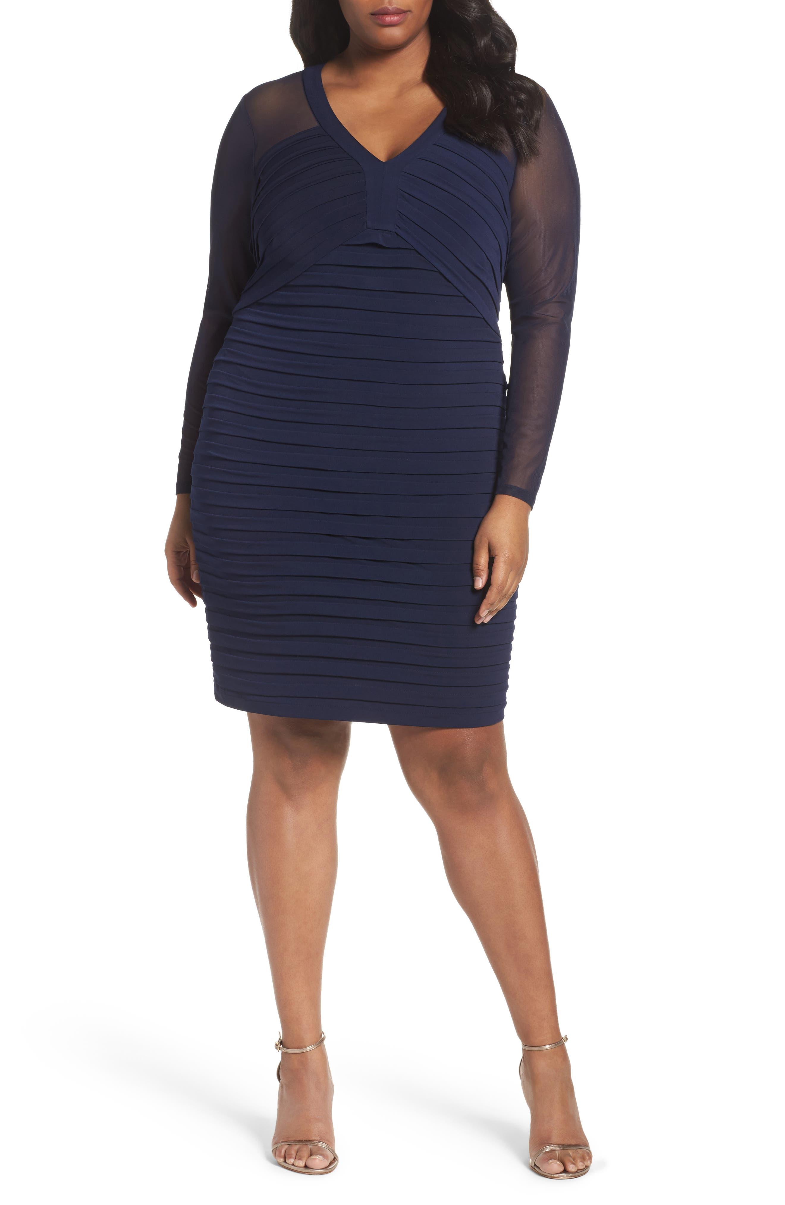 Shutter Pleat Jersey Skeath Dress,                             Alternate thumbnail 5, color,                             BLACK