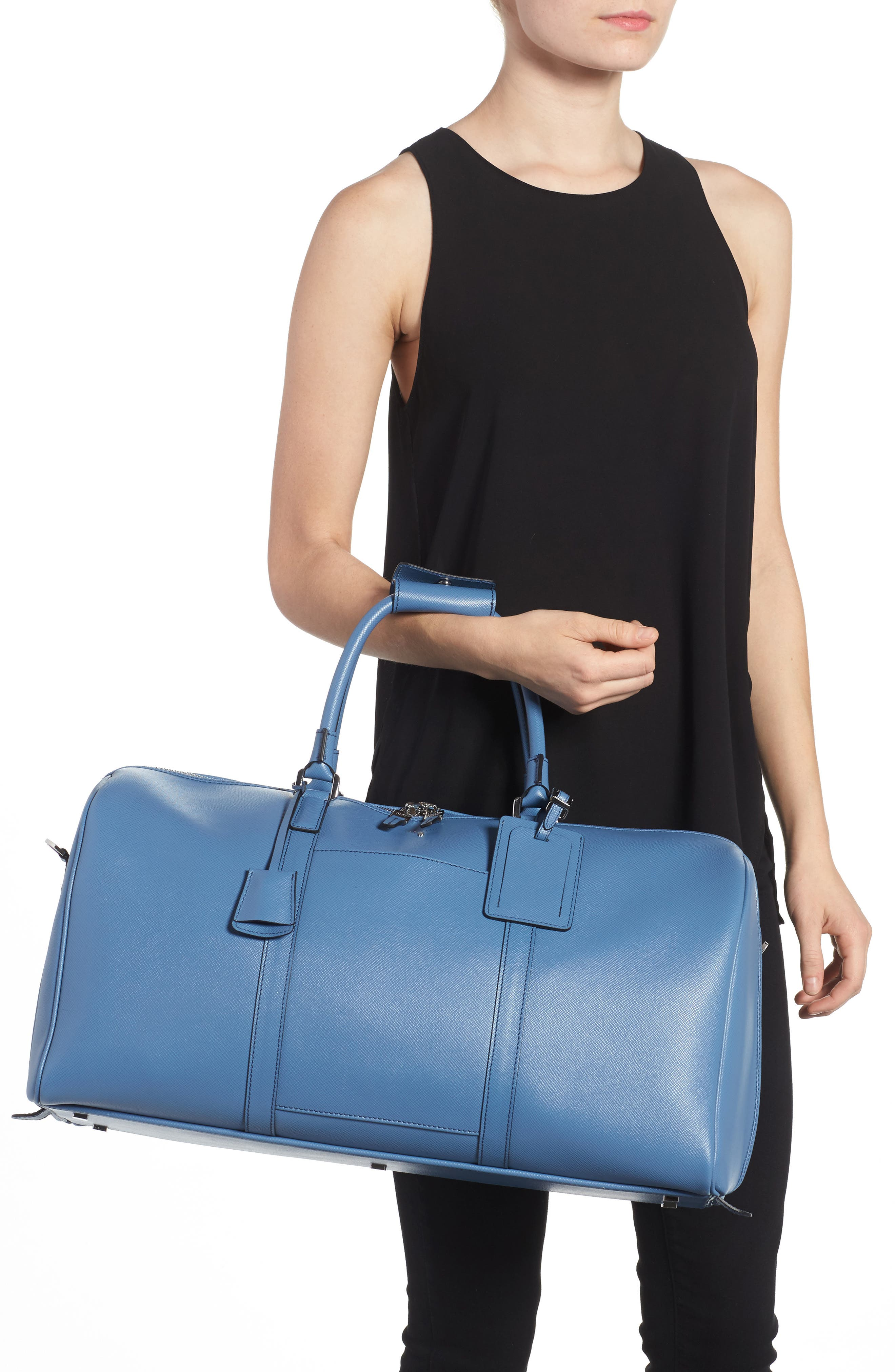 Small Evolution Leather Duffel Bag,                             Alternate thumbnail 8, color,