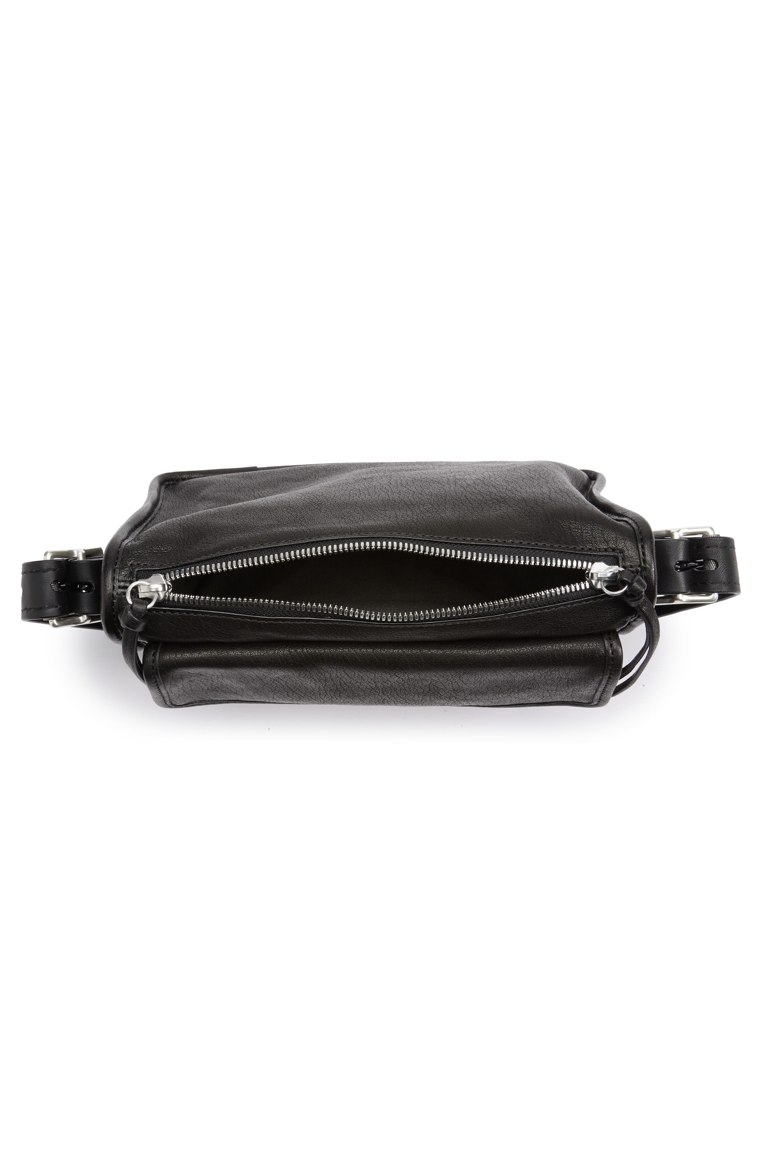 Small Field Leather Messenger Bag,                             Alternate thumbnail 4, color,                             BLACK