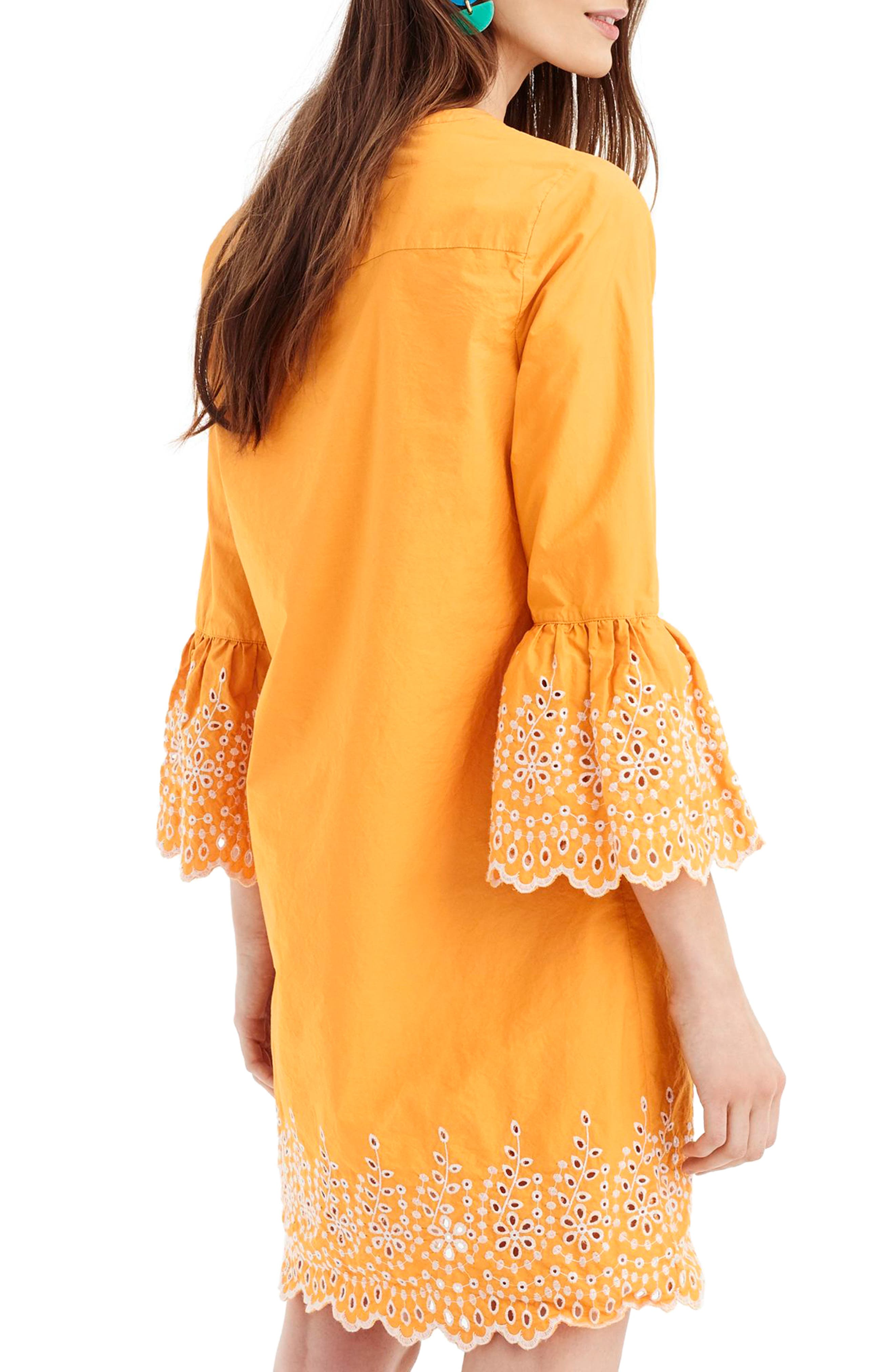 Eyelet Bell Sleeve Dress,                             Alternate thumbnail 3, color,