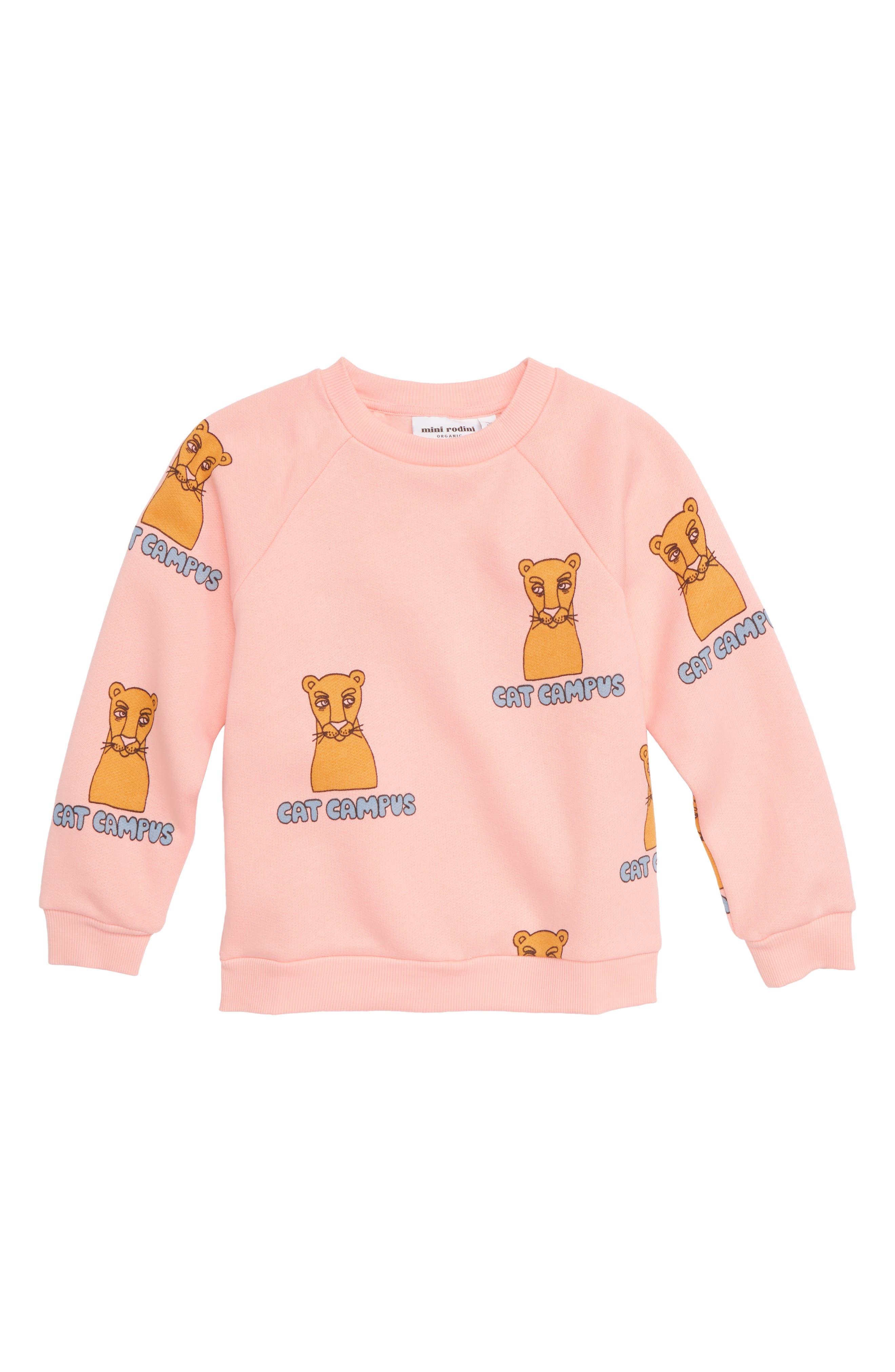 Cat Campus Organic Cotton Sweatshirt,                         Main,                         color, PINK