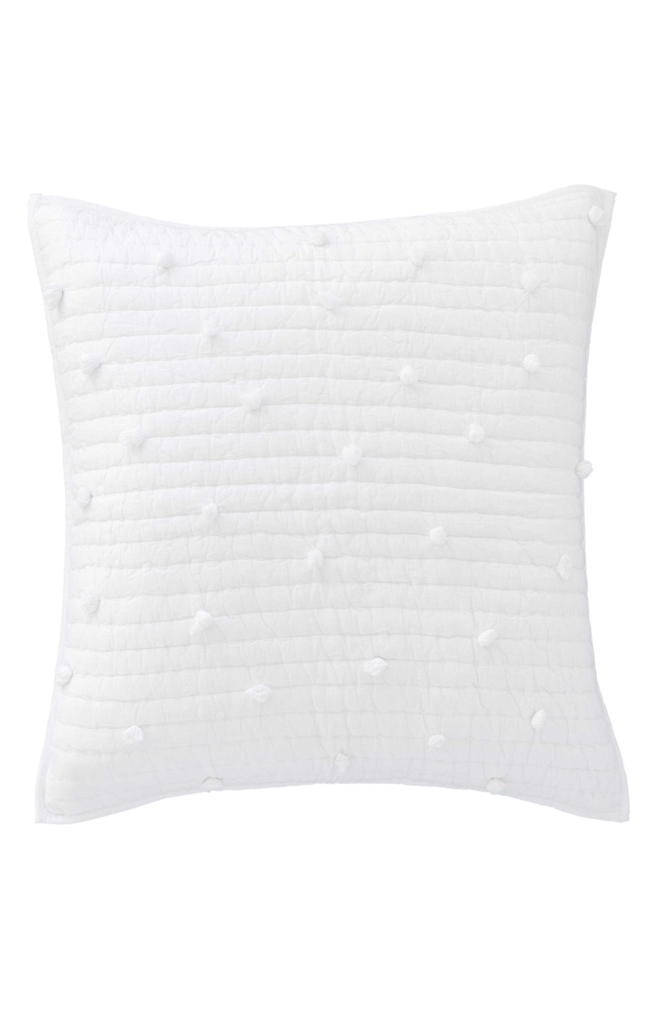 Pompom Quilted Sham,                         Main,                         color, WHITE