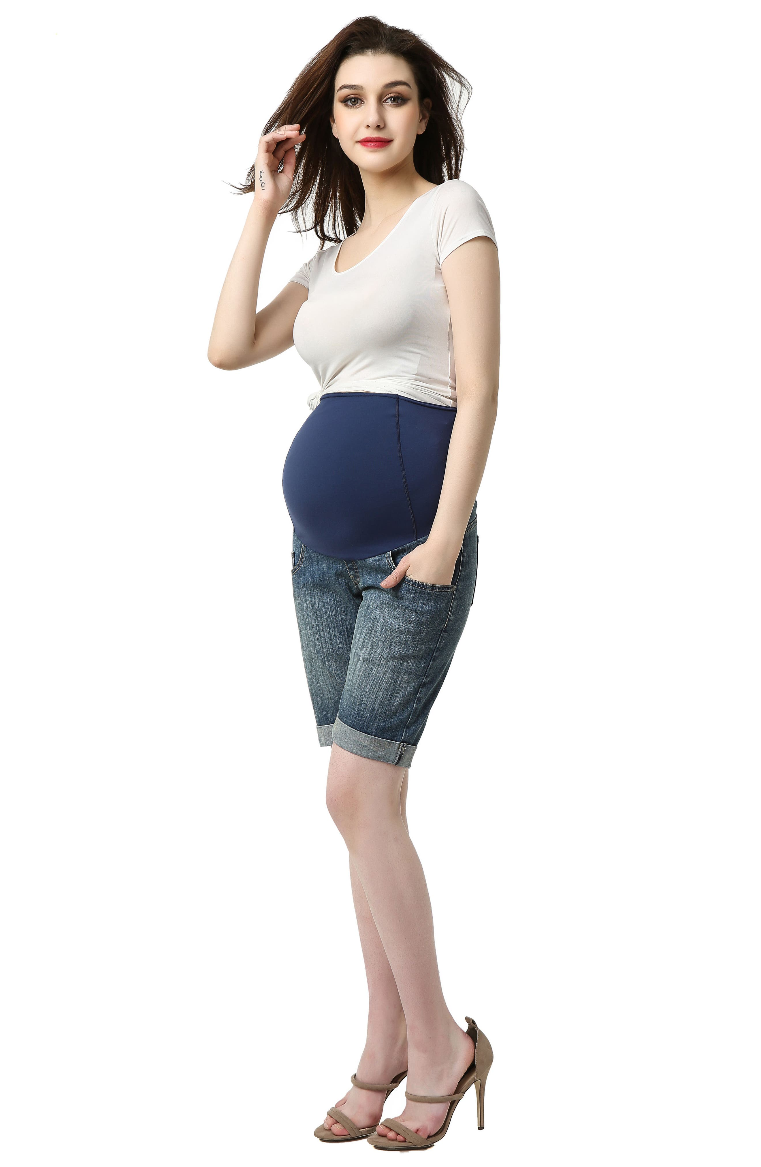 Abbie Denim Stretch Maternity Shorts,                             Alternate thumbnail 4, color,                             MEDIUM INDIGO