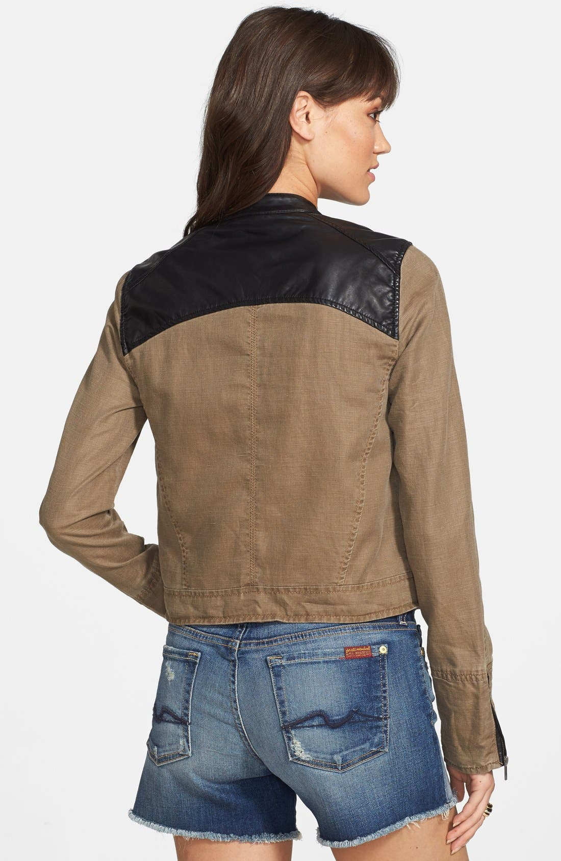 Faux Leather & Linen Blend Moto Jacket,                             Alternate thumbnail 3, color,                             213