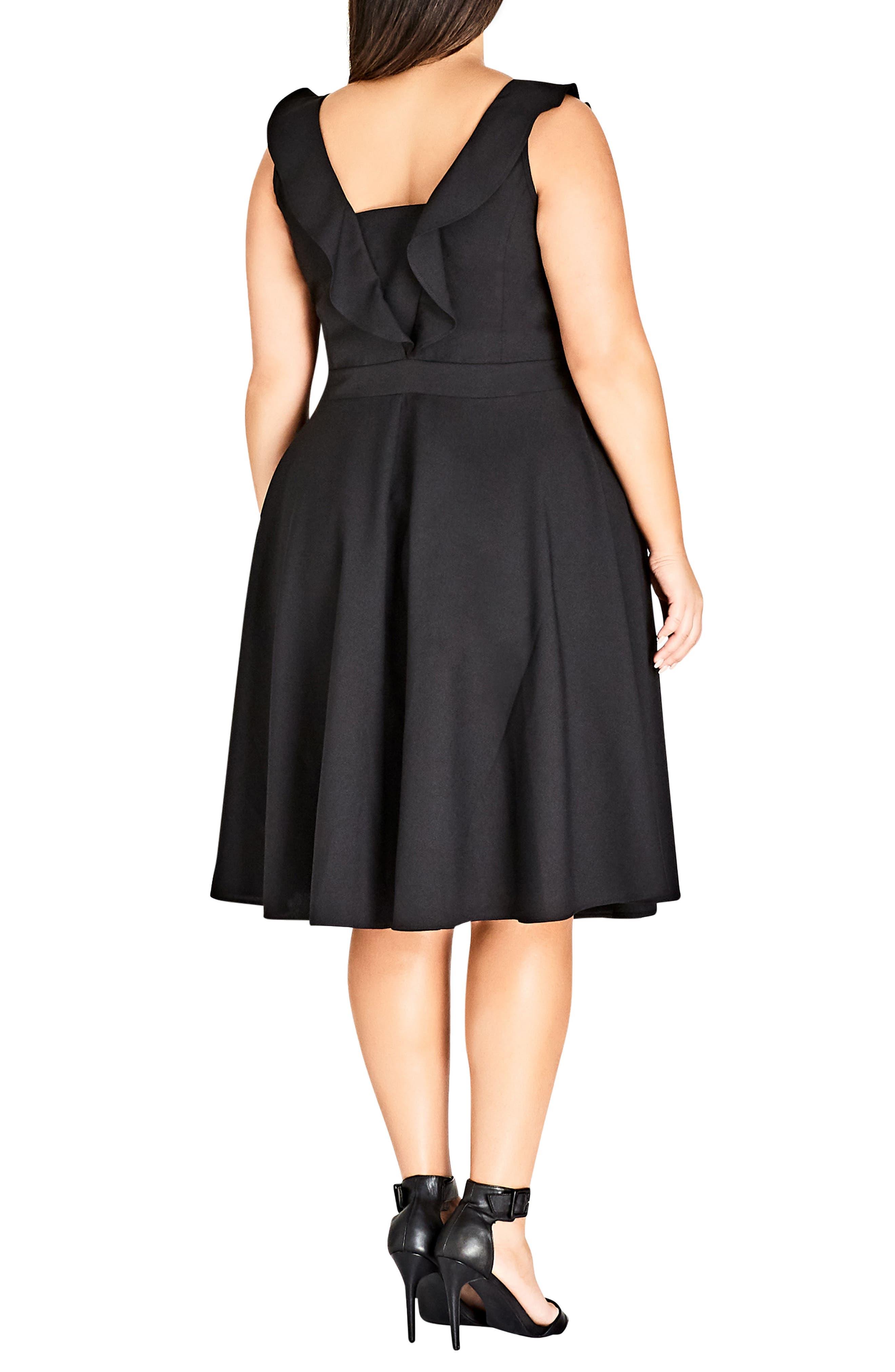 Flirty Flutter A-Line Dress,                             Alternate thumbnail 2, color,                             BLACK