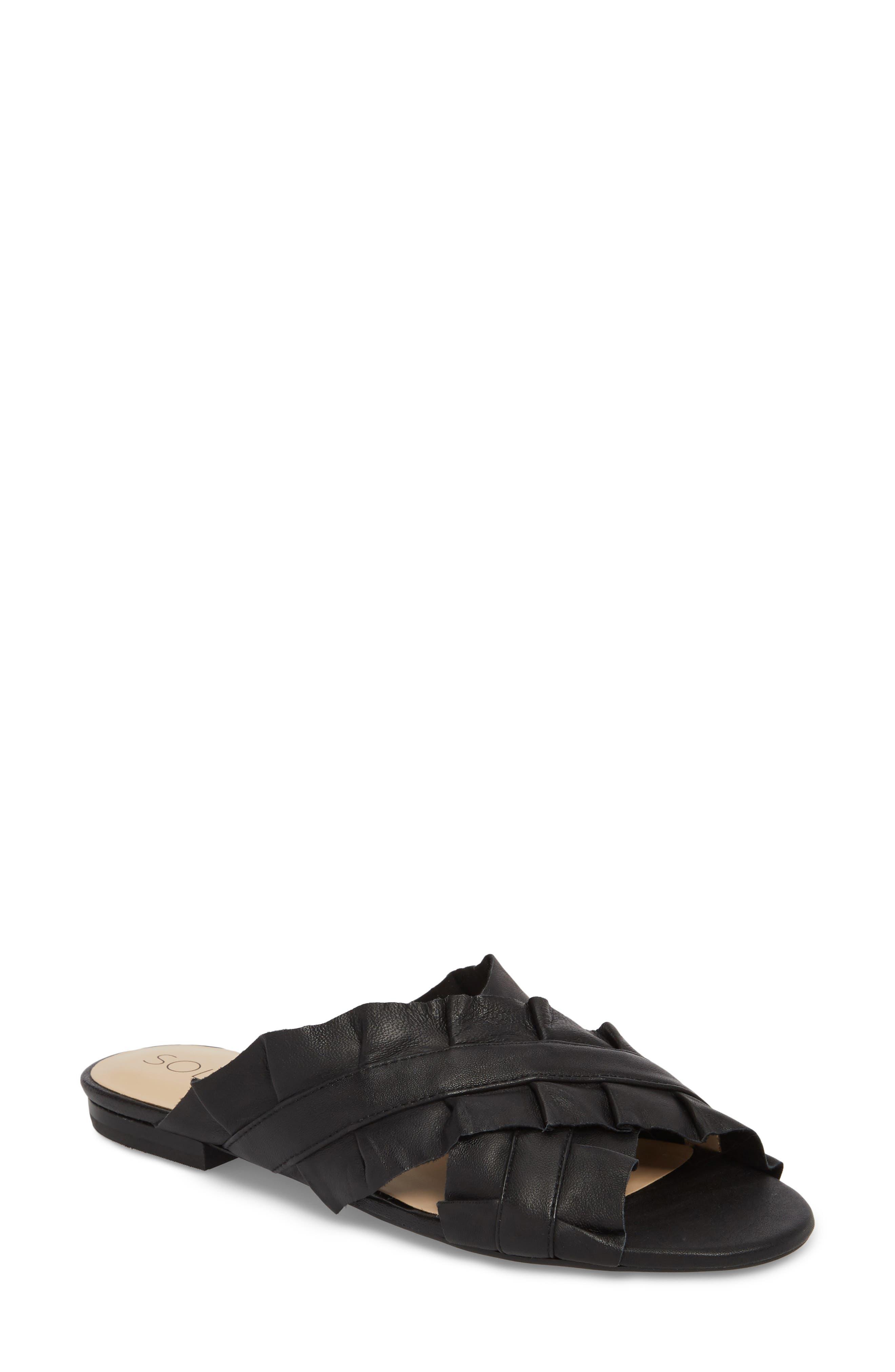 SOLE SOCIETY,                             Mandi Slide Sandal,                             Main thumbnail 1, color,                             BLACK