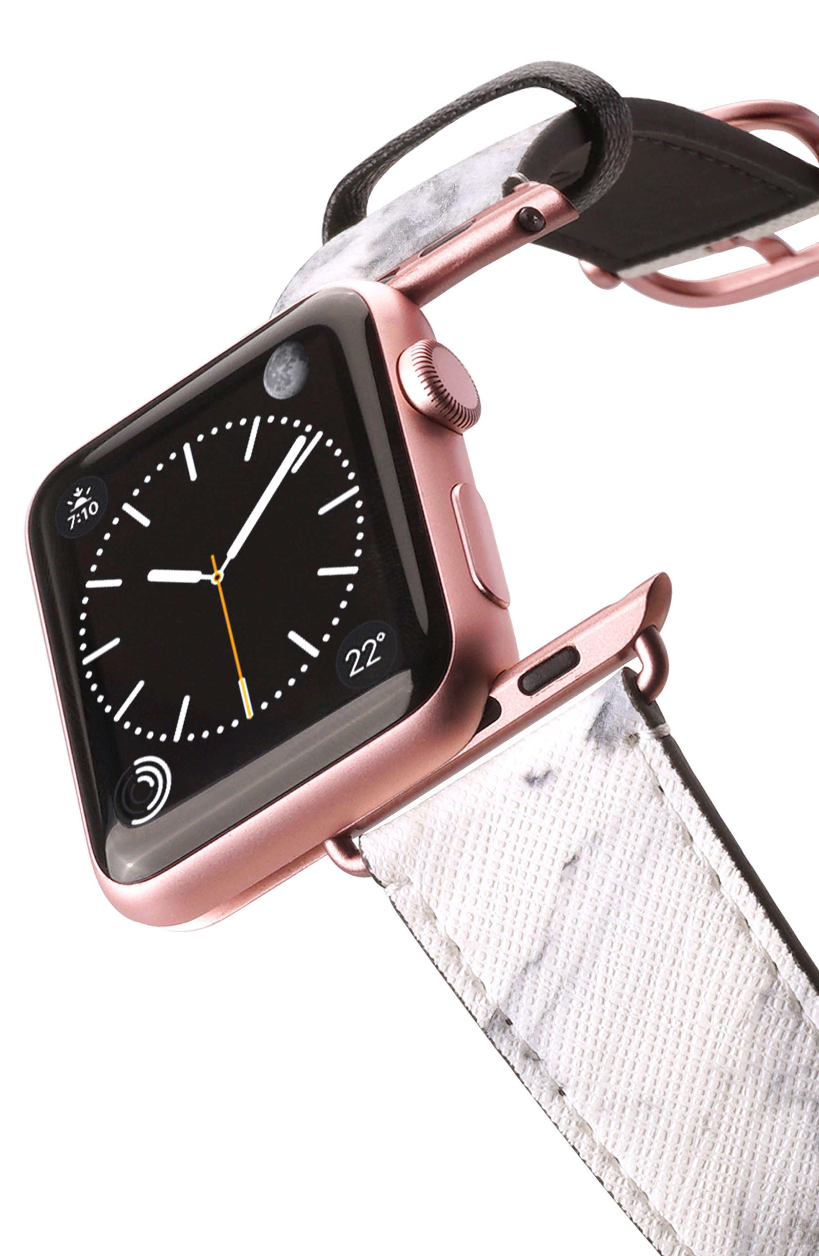 Saffiano Faux Leather Apple Watch Strap,                             Alternate thumbnail 16, color,