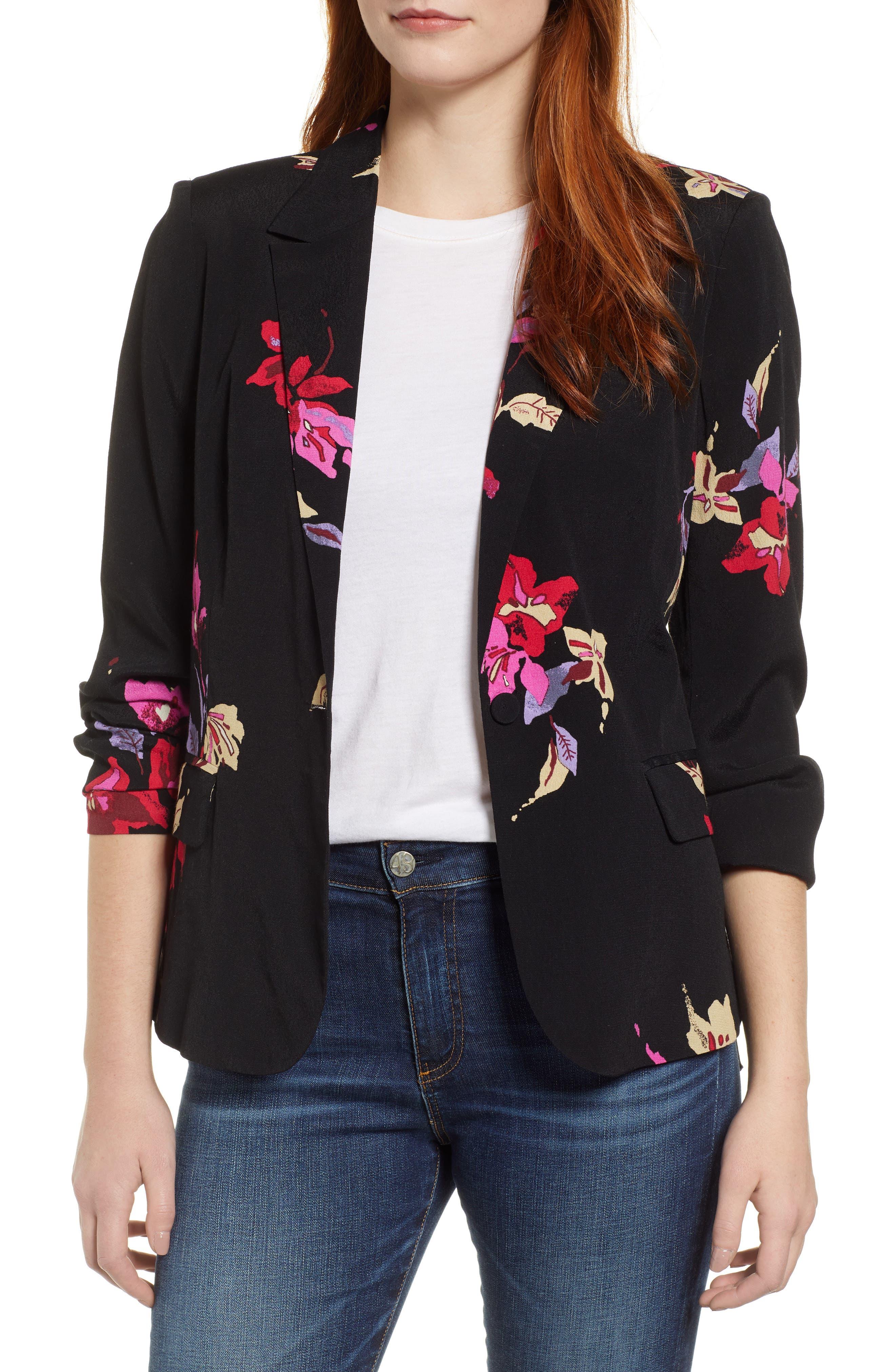 Floral Blazer,                         Main,                         color, 004