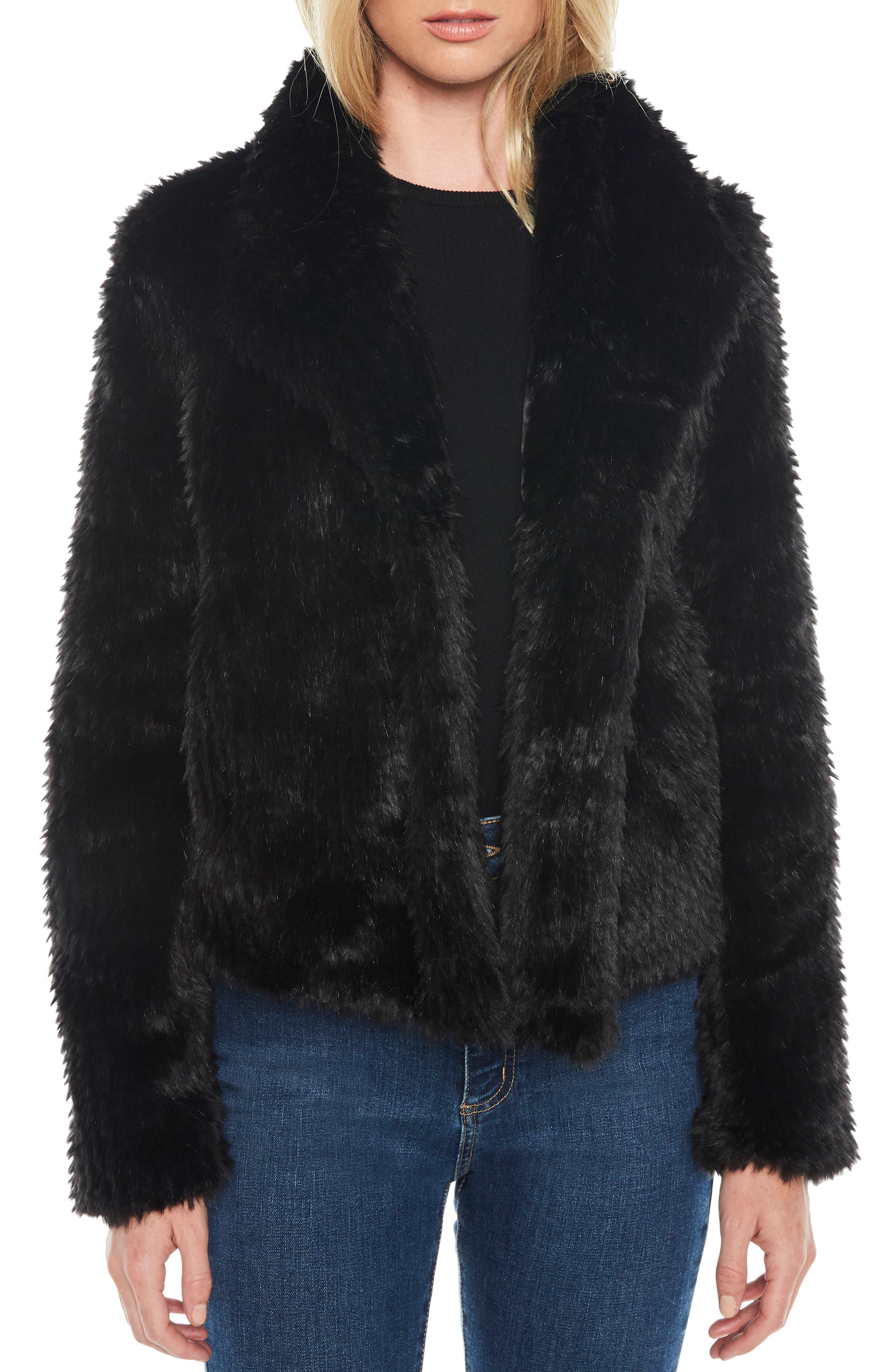 Crop Faux Fur Jacket,                         Main,                         color, BLACK