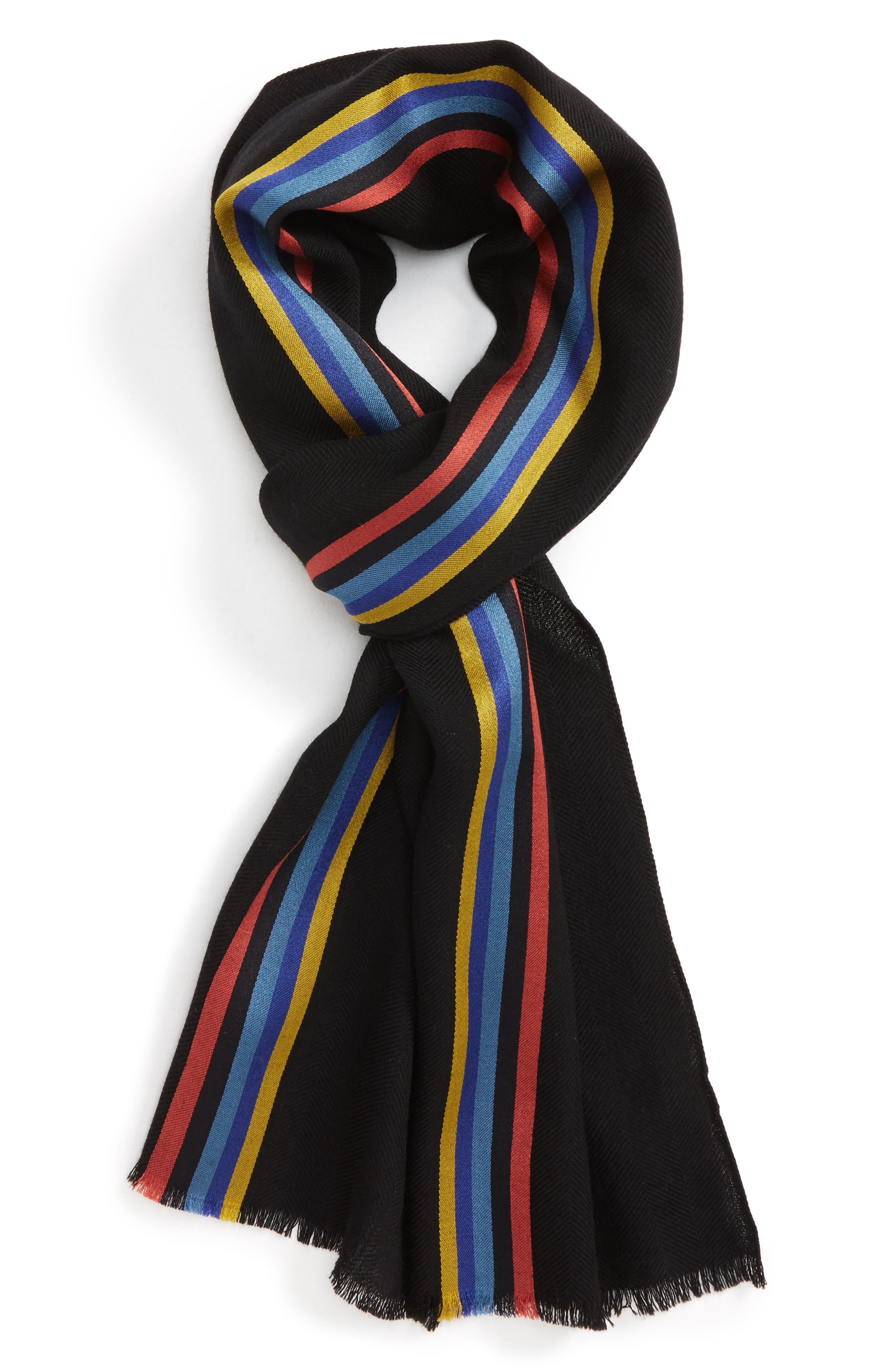 Stripe Wool Blend Scarf,                         Main,                         color, 001