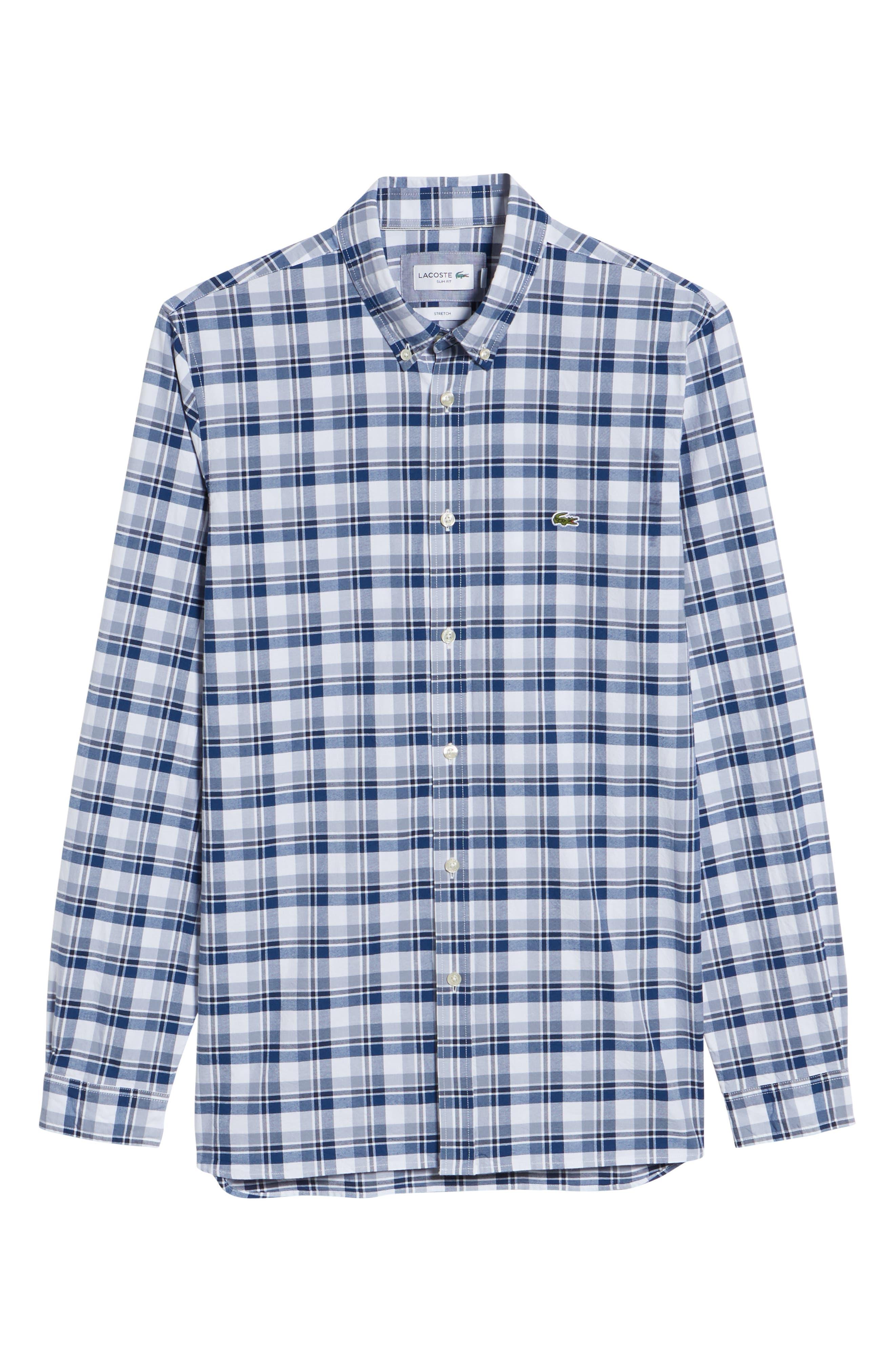 Slim Fit Check Oxford Sport Shirt,                             Alternate thumbnail 6, color,                             400