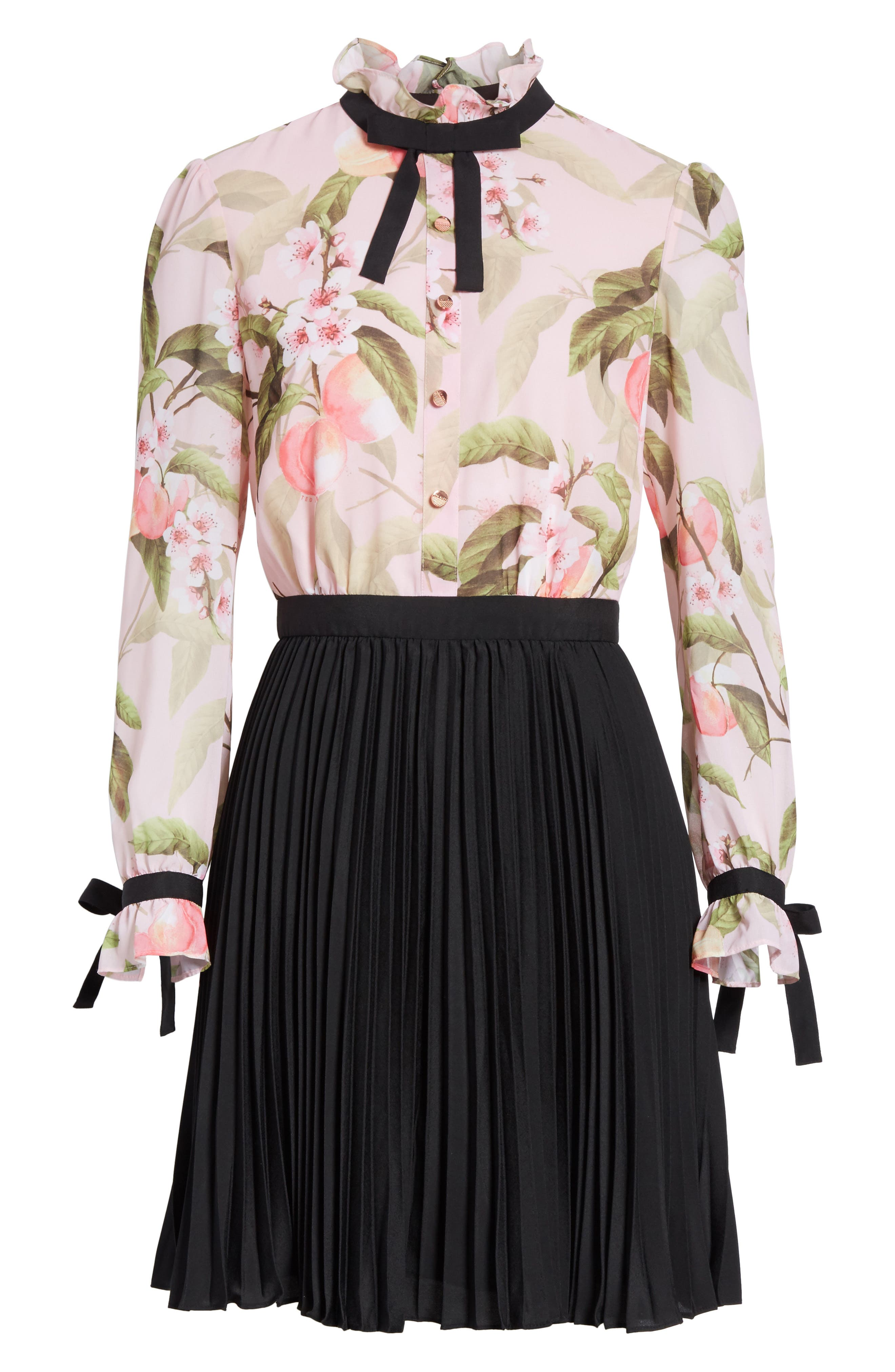 Peach Blossom Pleat Shirtdress,                             Alternate thumbnail 6, color,                             683