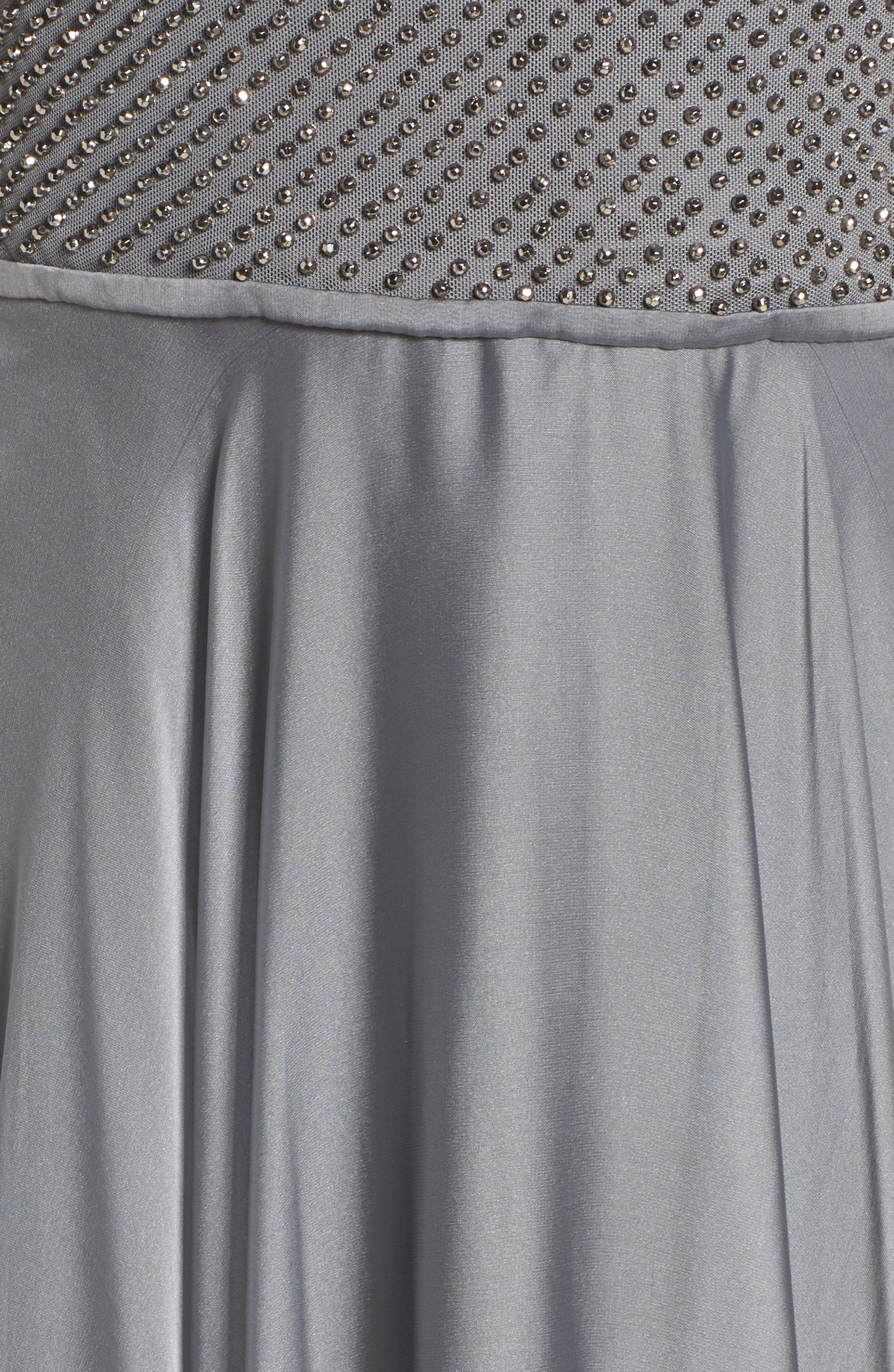 Embellished Bodice Gown,                             Alternate thumbnail 5, color,                             PLATINUM