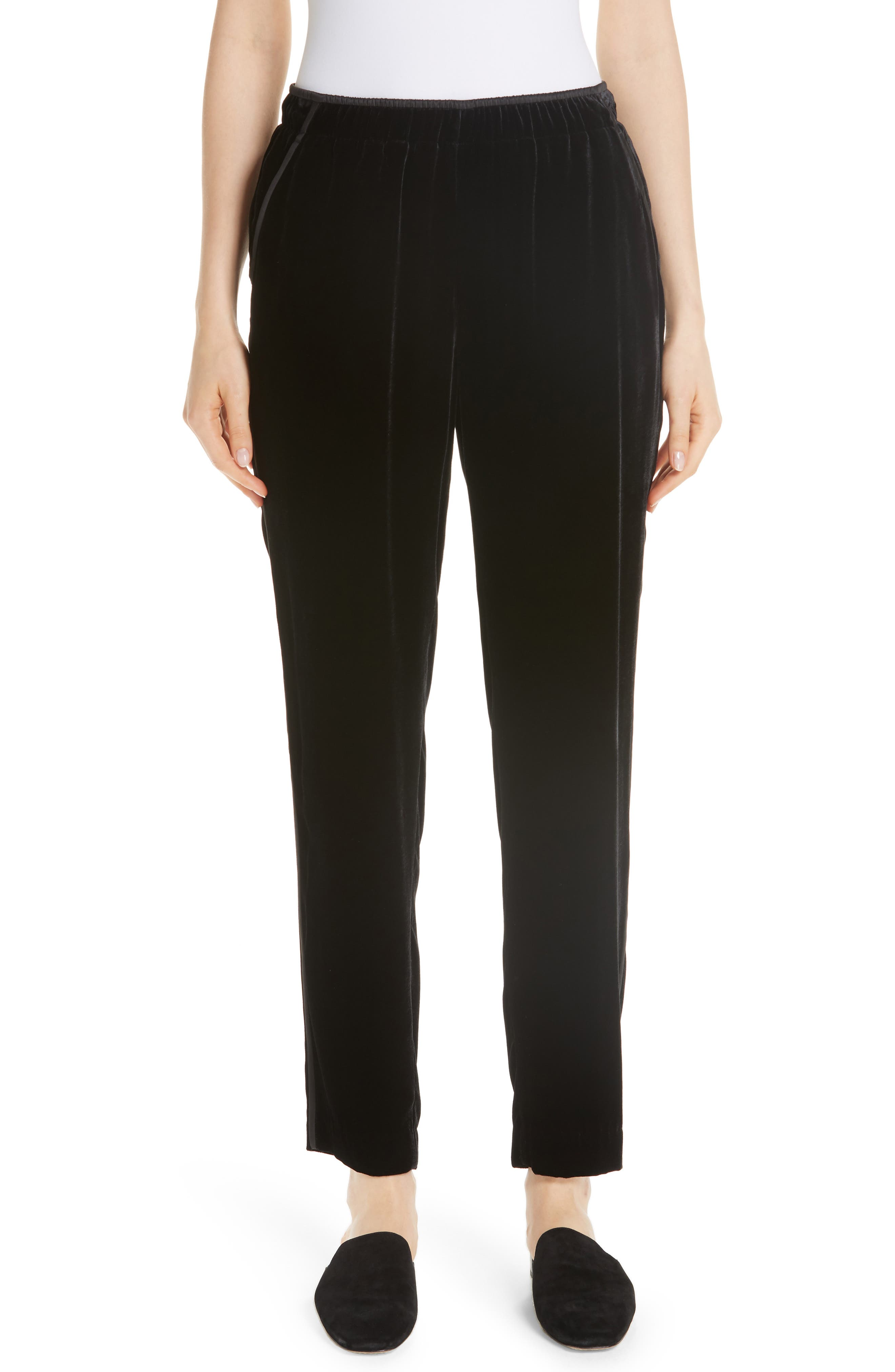 Velvet Track Pants With Piping in Black